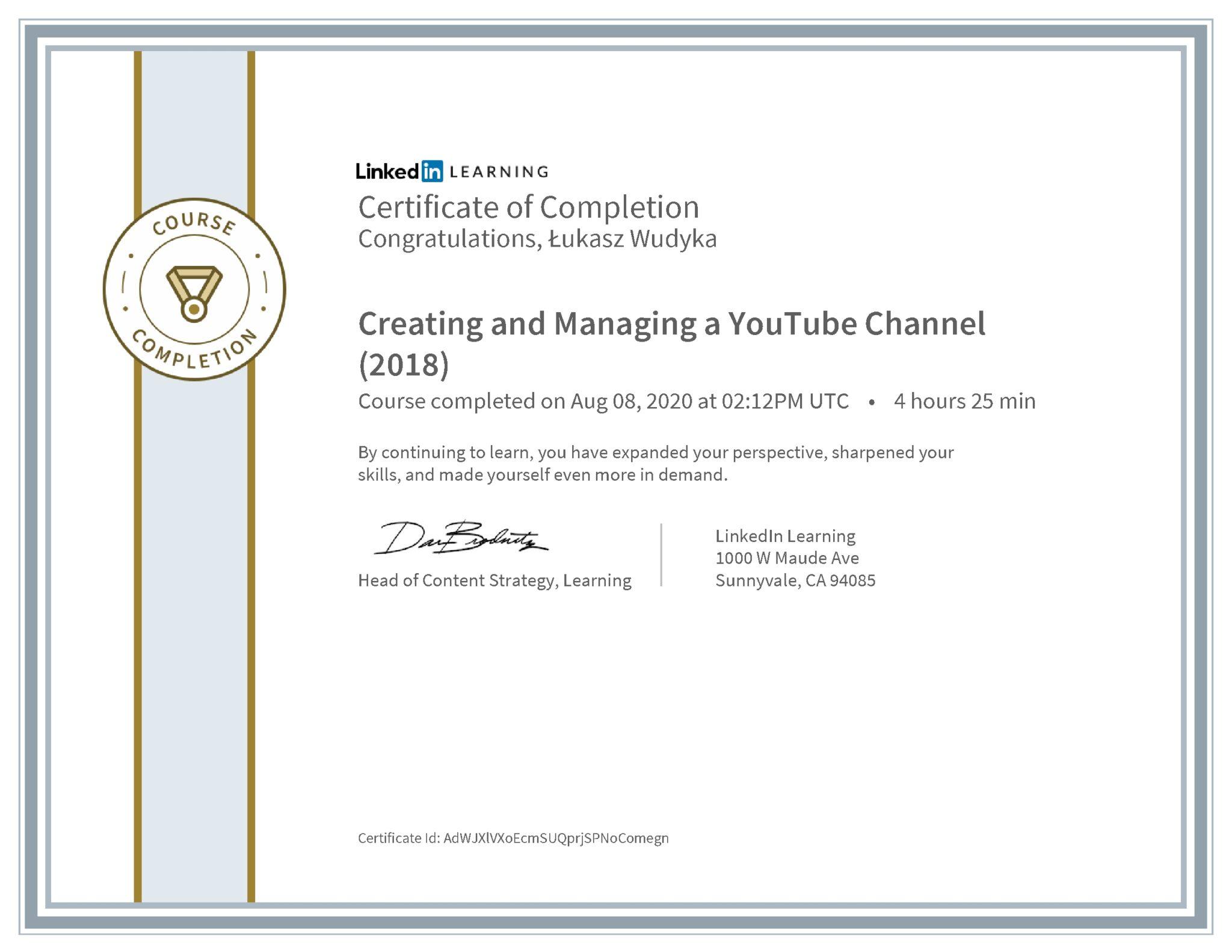 Łukasz Wudyka certyfikat LinkedIn Creating and Managing a YouTube Channel (2018)