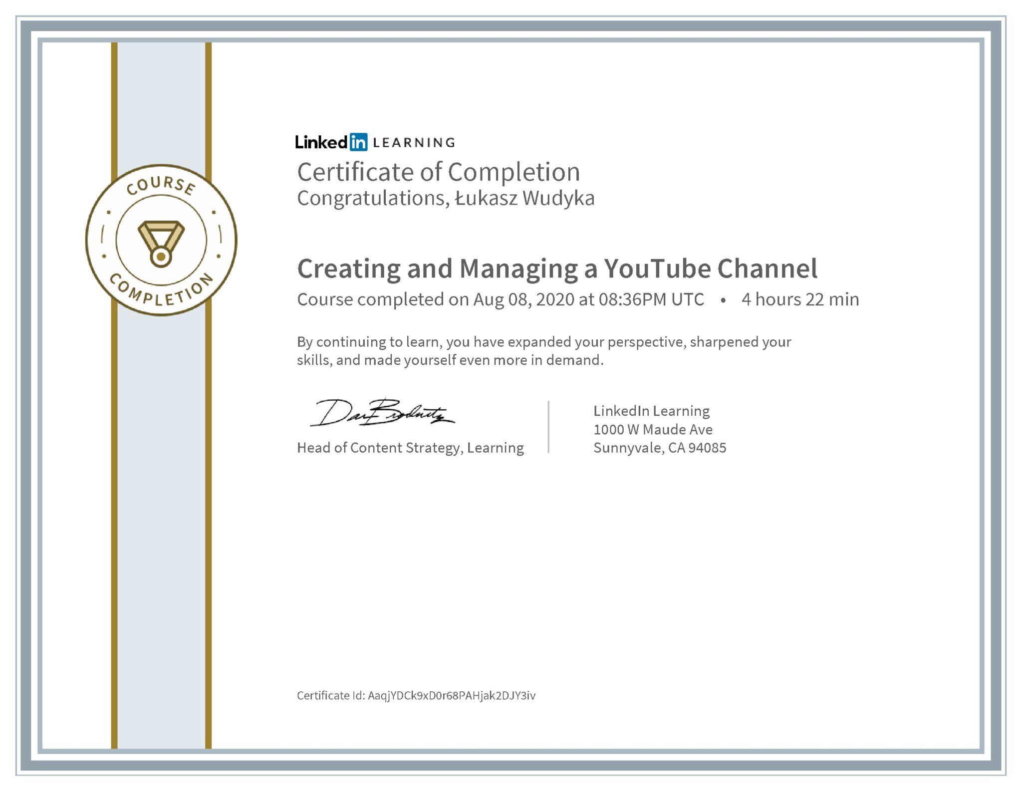 Łukasz Wudyka certyfikat LinkedIn Creating and Managing a YouTube Channel