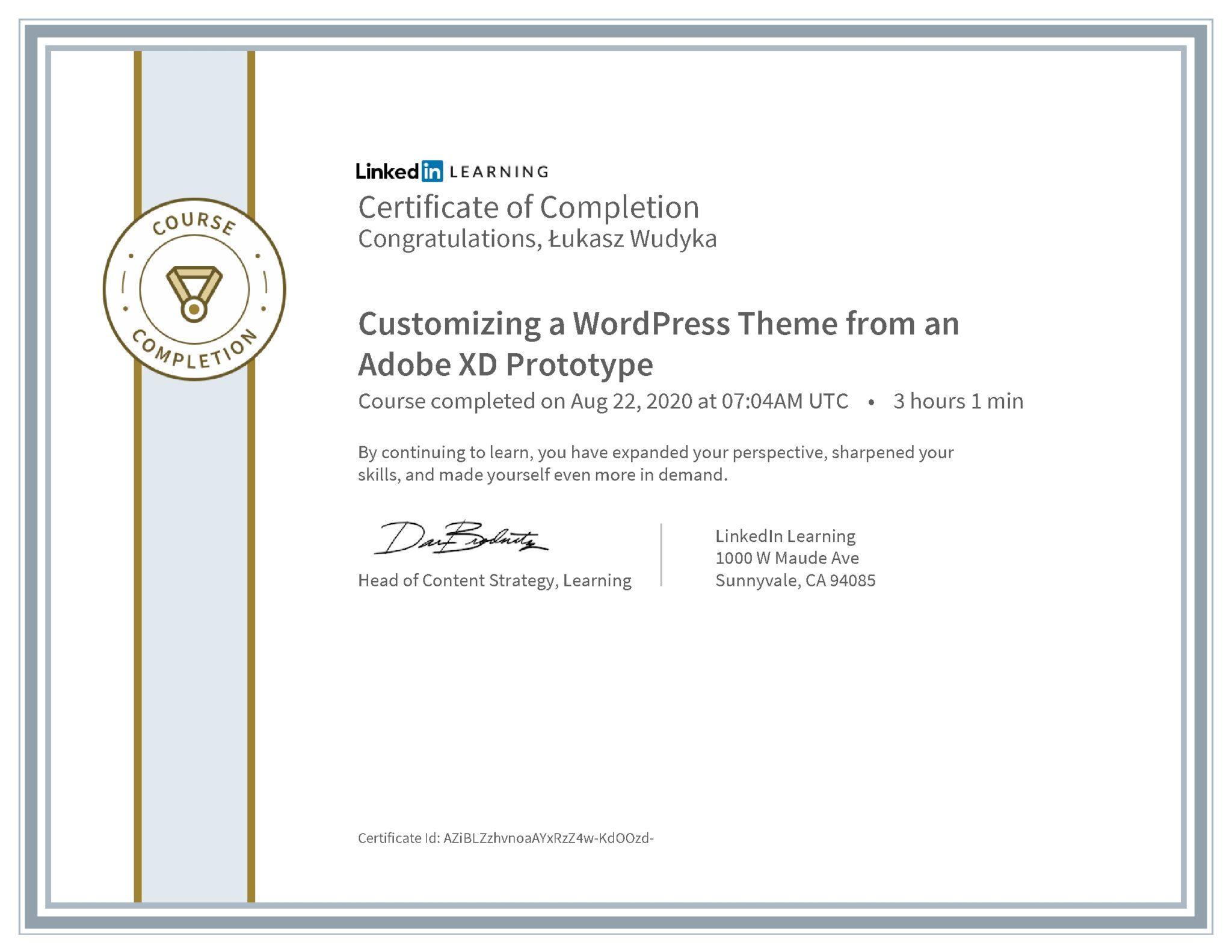 Łukasz Wudyka certyfikat LinkedIn Customizing a WordPress Theme from an Adobe XD Prototype