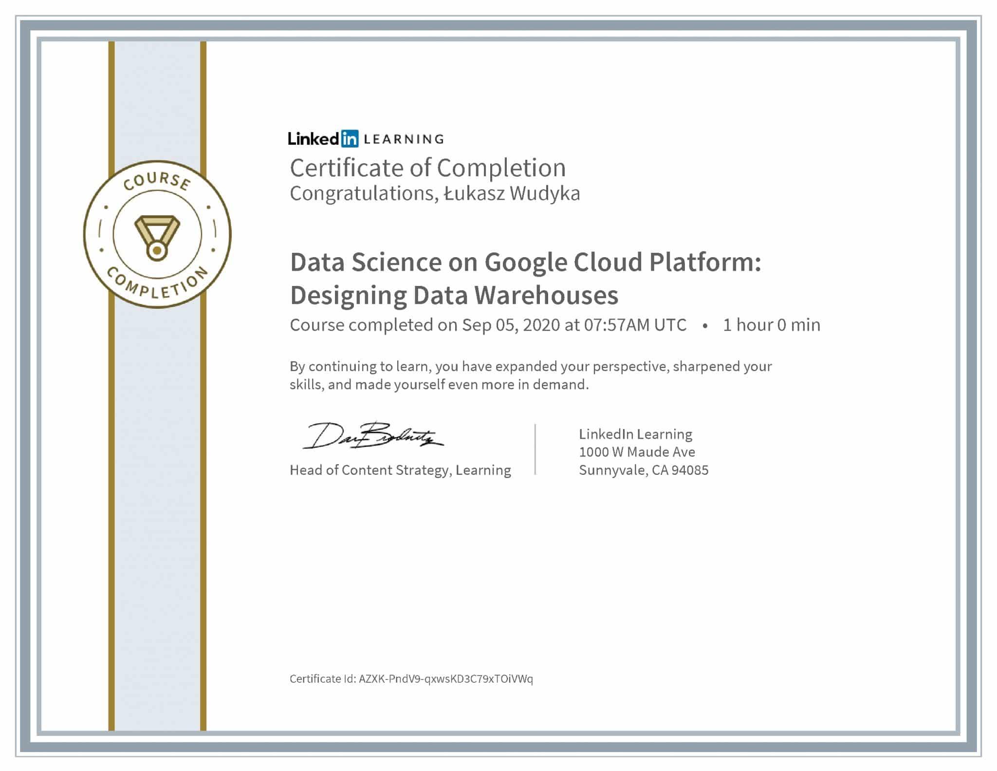 Łukasz Wudyka certyfikat LinkedIn Data Science on Google Cloud Platform: Designing Data Warehouses