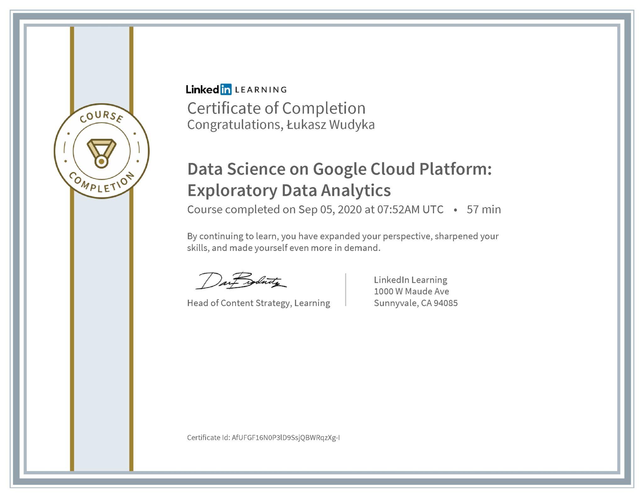 Łukasz Wudyka certyfikat LinkedIn Data Science on Google Cloud Platform: Exploratory Data Analytics