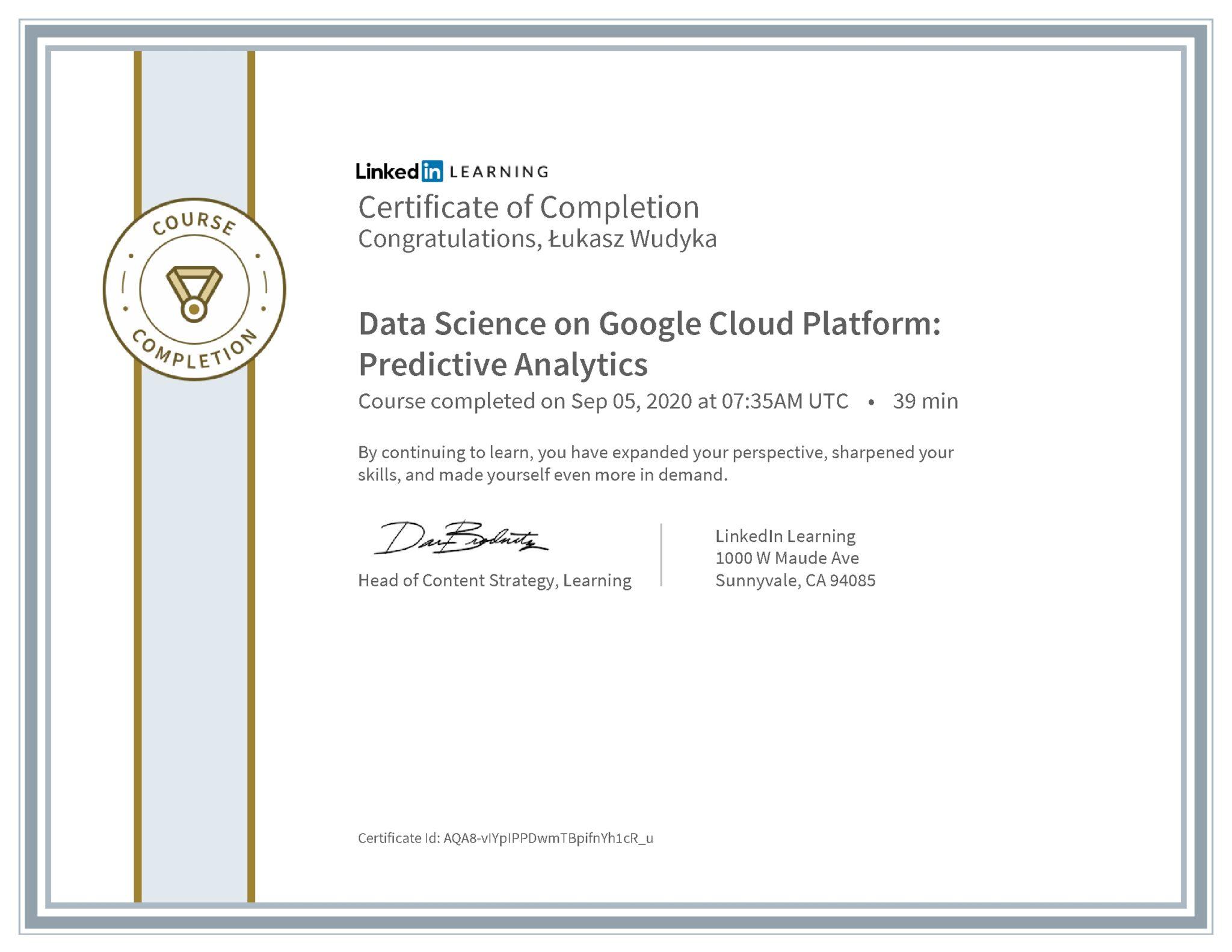 Łukasz Wudyka certyfikat LinkedIn Data Science on Google Cloud Platform: Predictive Analytics