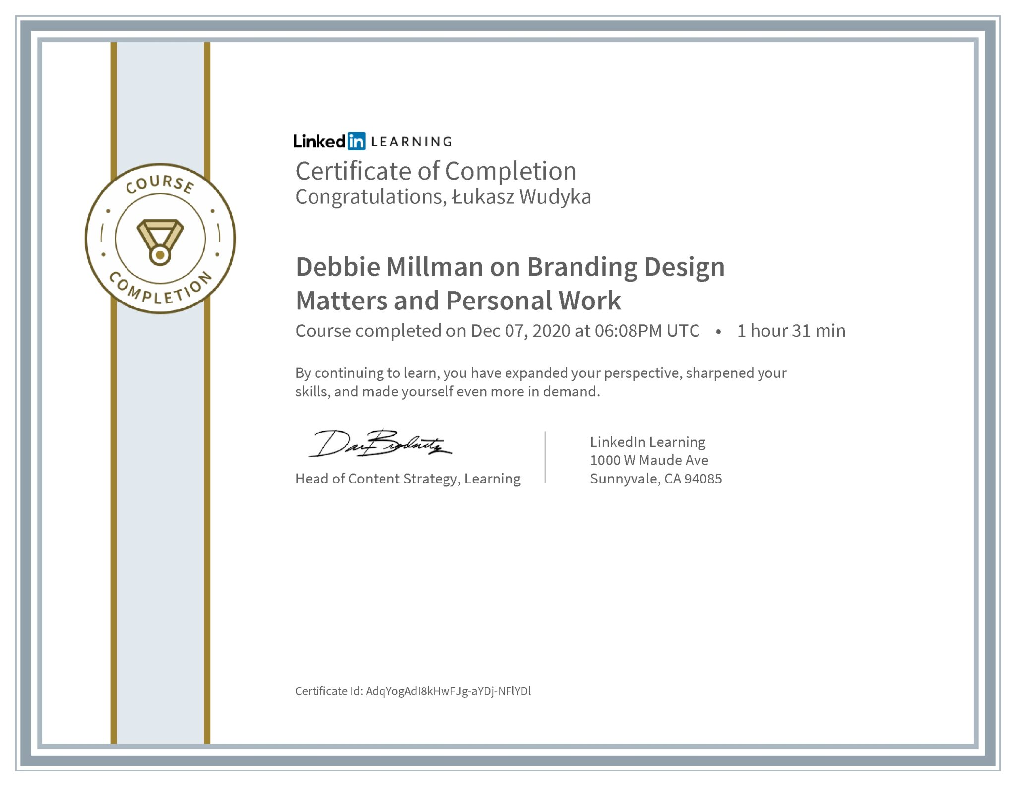 Łukasz Wudyka certyfikat LinkedIn Debbie Millman on Branding Design Matters and Personal Work
