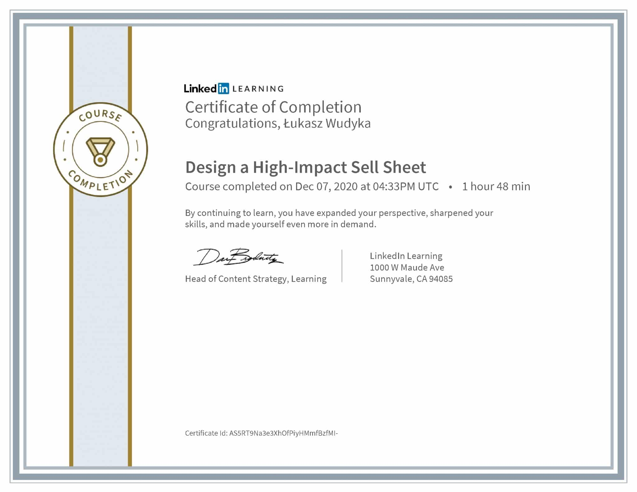 Łukasz Wudyka certyfikat LinkedIn Design a High-Impact Sell Sheet