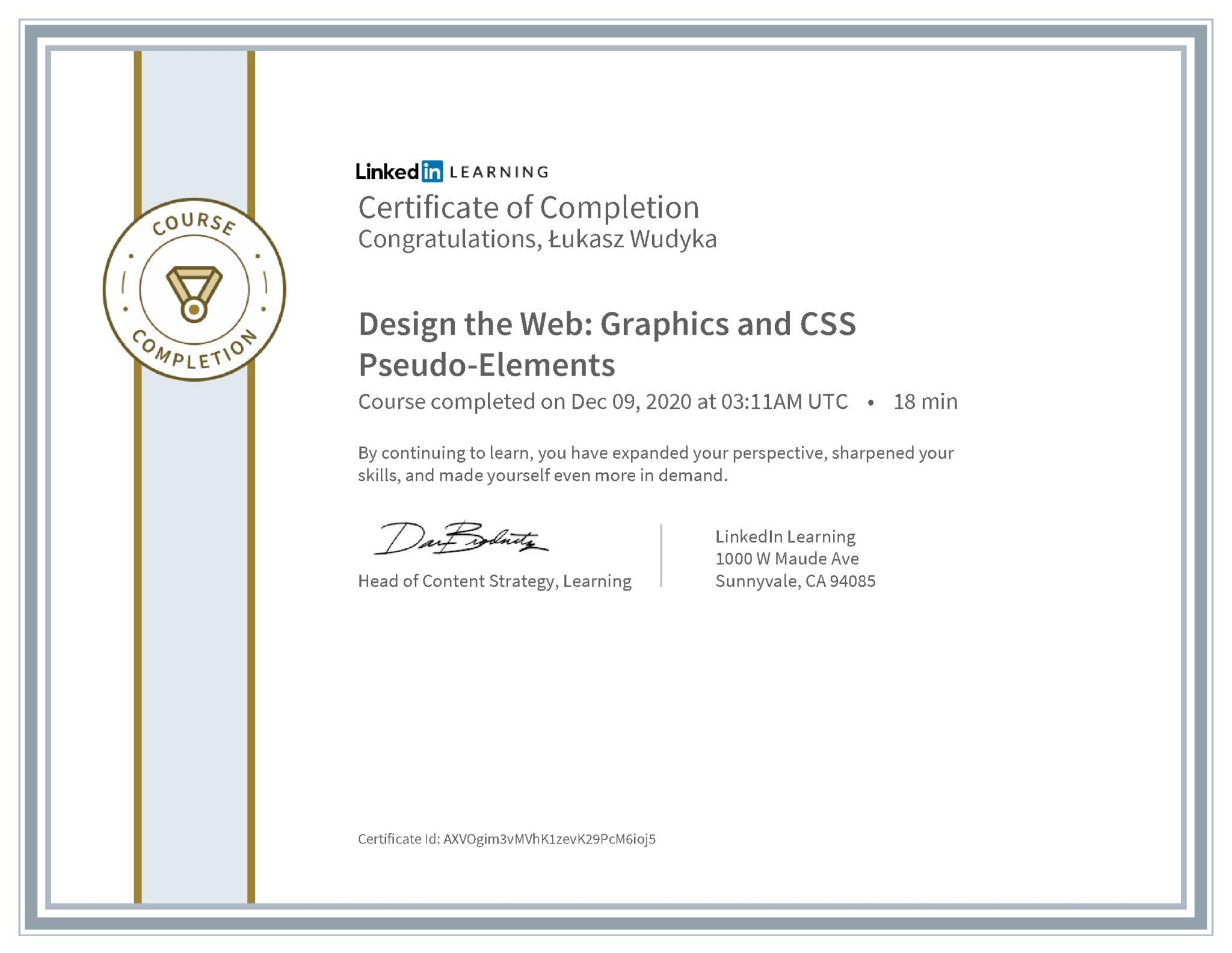 Łukasz Wudyka certyfikat LinkedIn Design the Web: Graphics and CSS Pseudo-Elements
