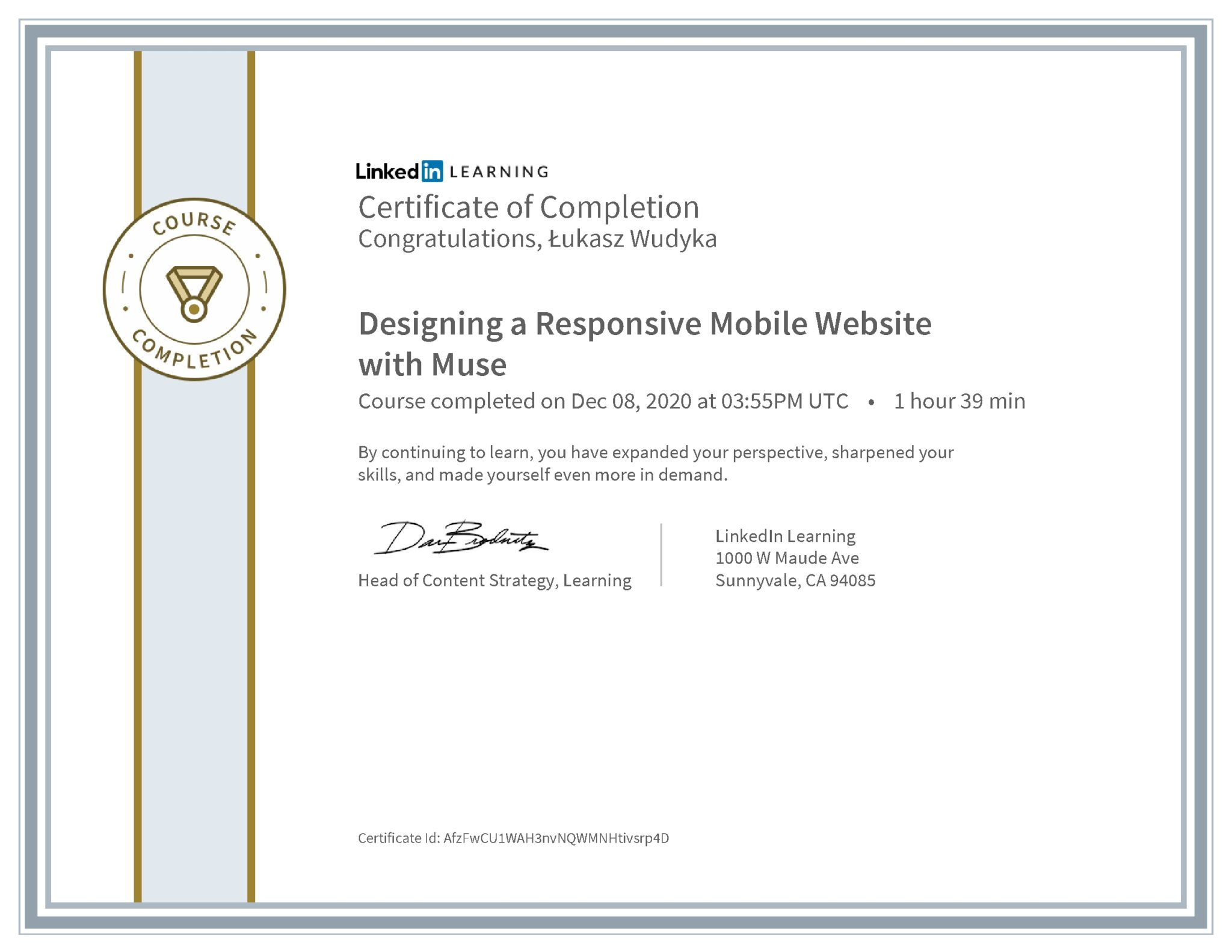 Łukasz Wudyka certyfikat LinkedIn Designing a Responsive Mobile Website with Muse