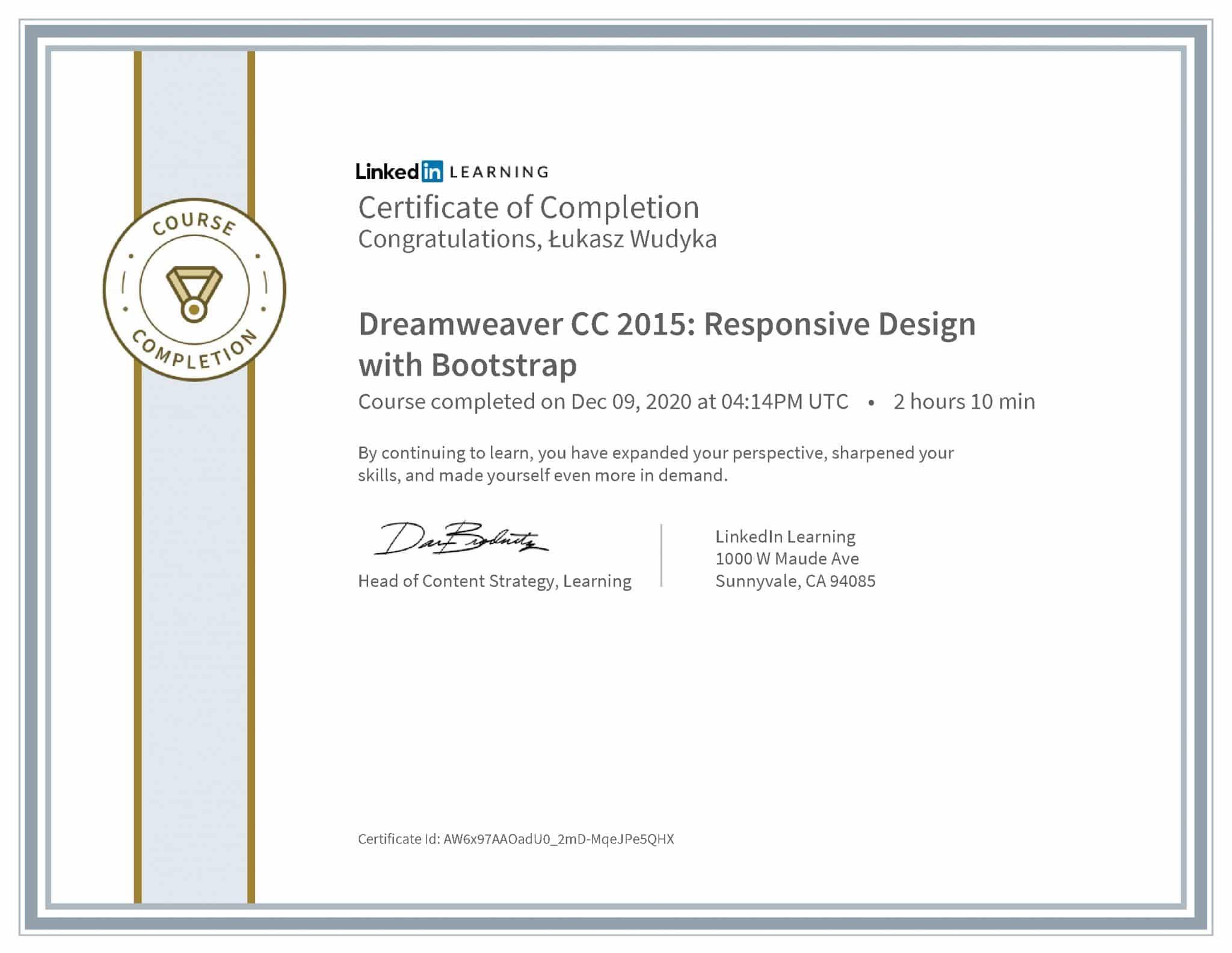 Łukasz Wudyka certyfikat LinkedIn Dreamweaver CC 2015: Responsive Design with Bootstrap