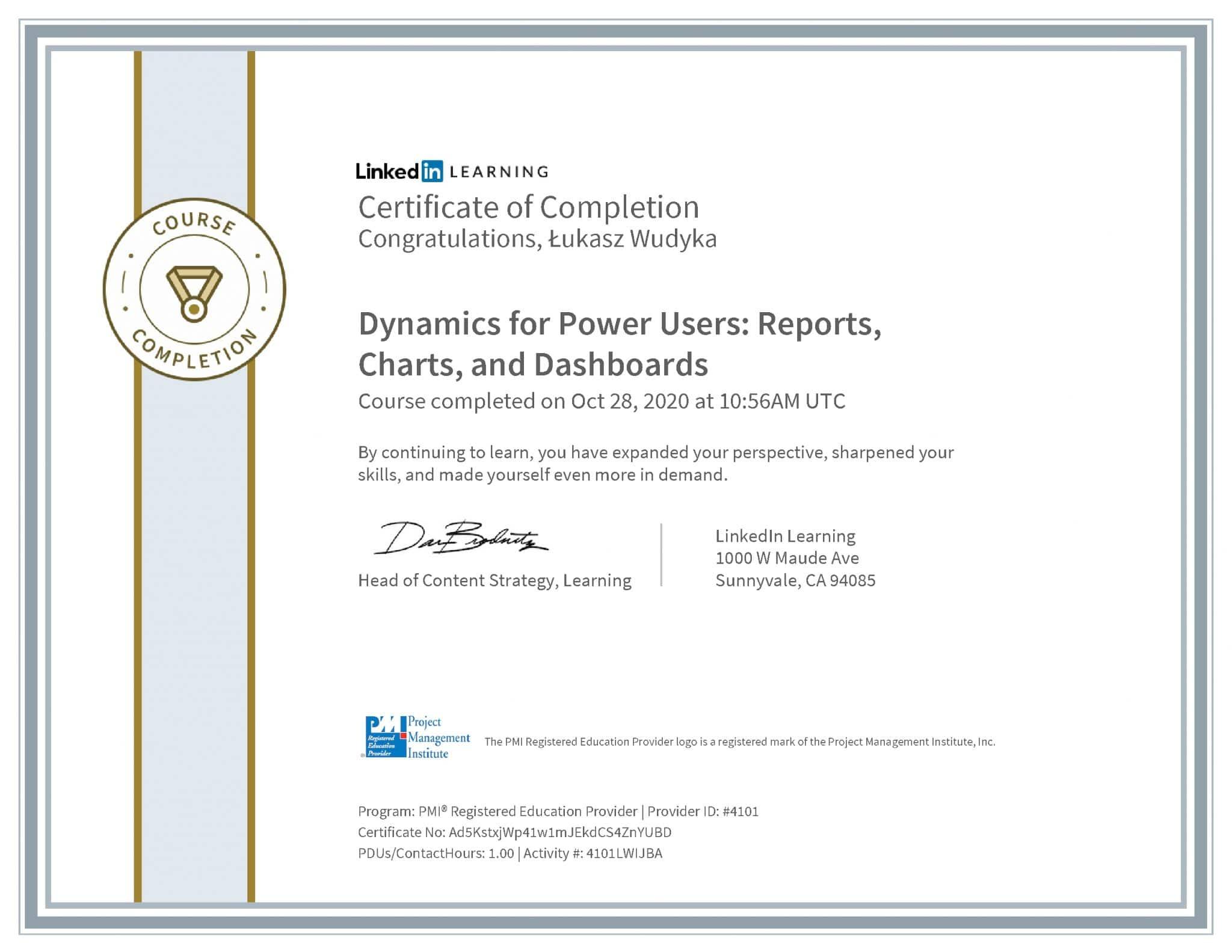 Łukasz Wudyka certyfikat LinkedIn Dynamics for Power Users: Reports, Charts, and Dashboards PMI