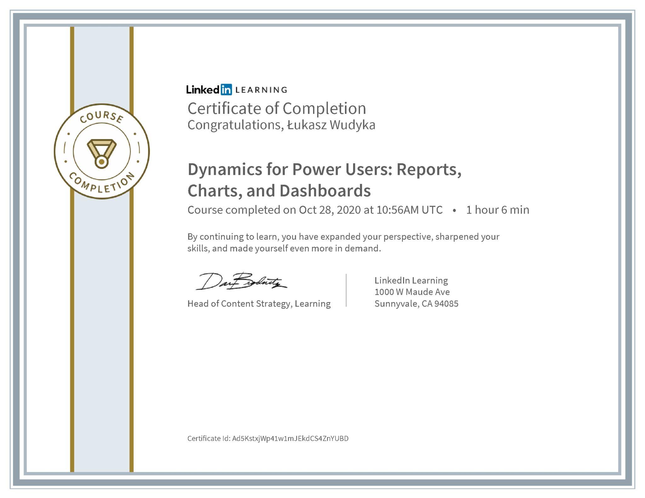 Łukasz Wudyka certyfikat LinkedIn Dynamics for Power Users: Reports, Charts, and Dashboards