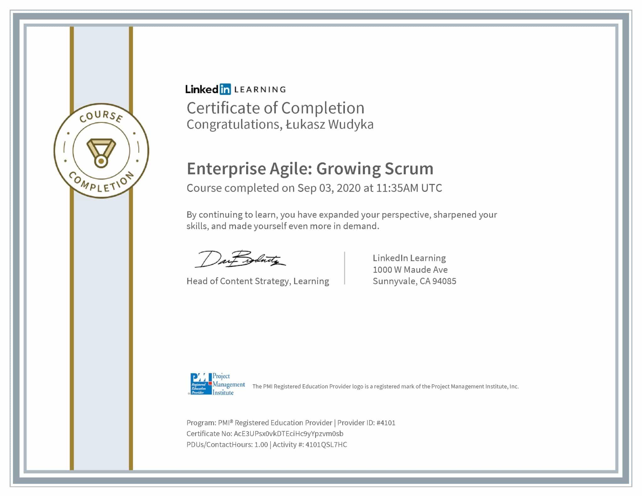 Łukasz Wudyka certyfikat LinkedIn Enterprise Agile: Growing Scrum PMI