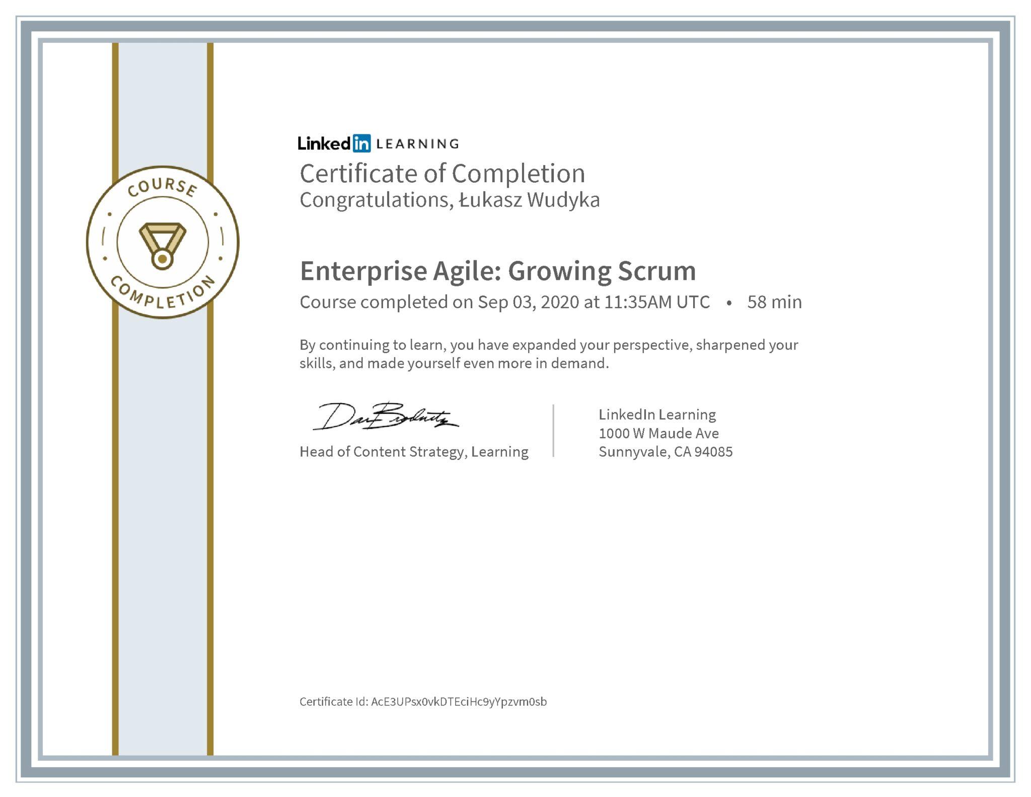 Łukasz Wudyka certyfikat LinkedIn Enterprise Agile: Growing Scrum
