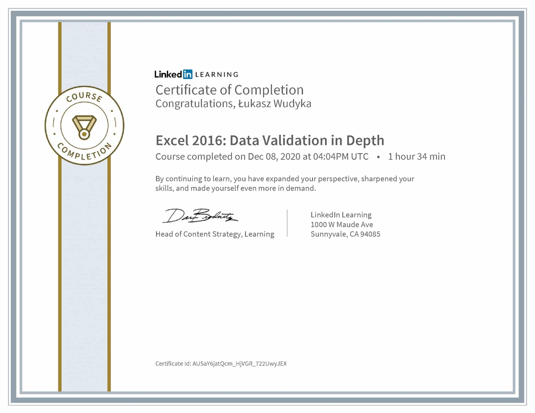 Łukasz Wudyka certyfikat LinkedIn Excel 2016: Data Validation in Depth