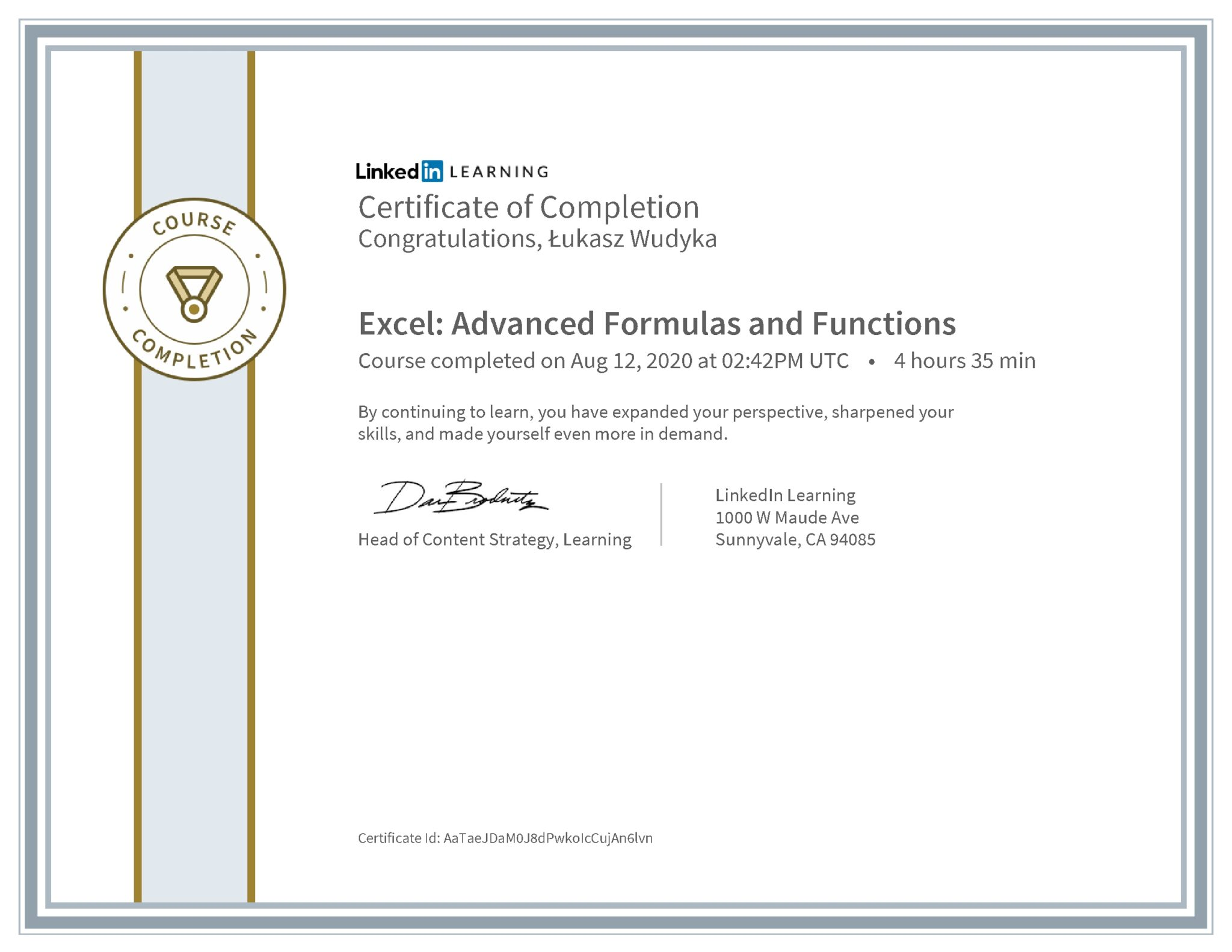 Łukasz Wudyka certyfikat LinkedIn Excel: Advanced Formulas and Functions
