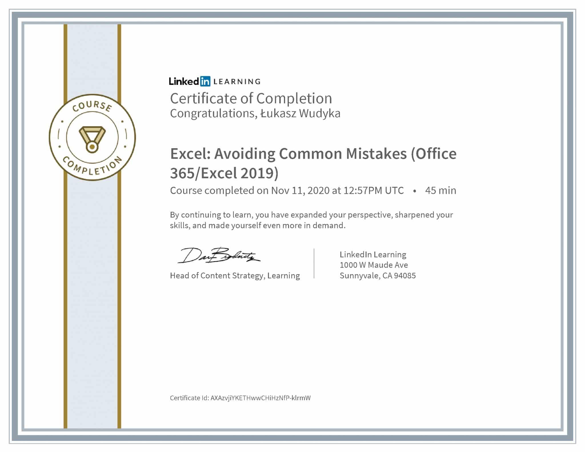 Łukasz Wudyka certyfikat LinkedIn Excel: Avoiding Common Mistakes (Office 365/Excel 2019)