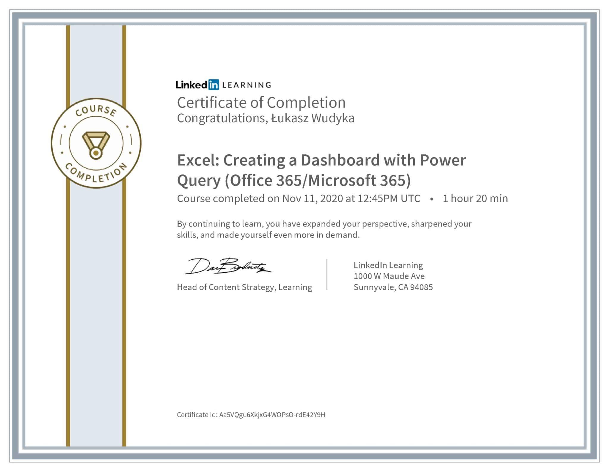 Łukasz Wudyka certyfikat LinkedIn Excel: Creating a Dashboard with Power Query (Office 365/Microsoft 365)