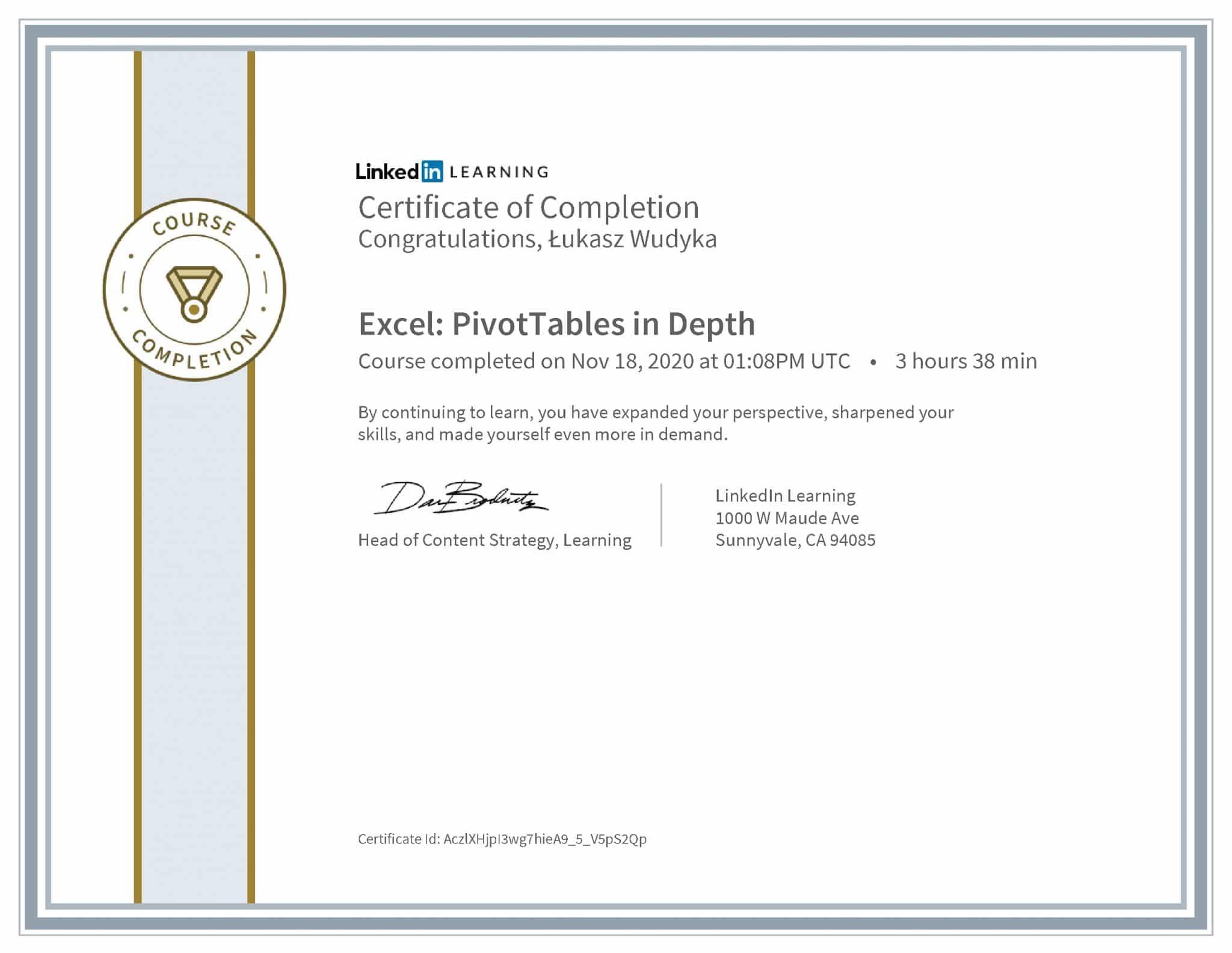 Łukasz Wudyka certyfikat LinkedIn Excel: PivotTables in Depth