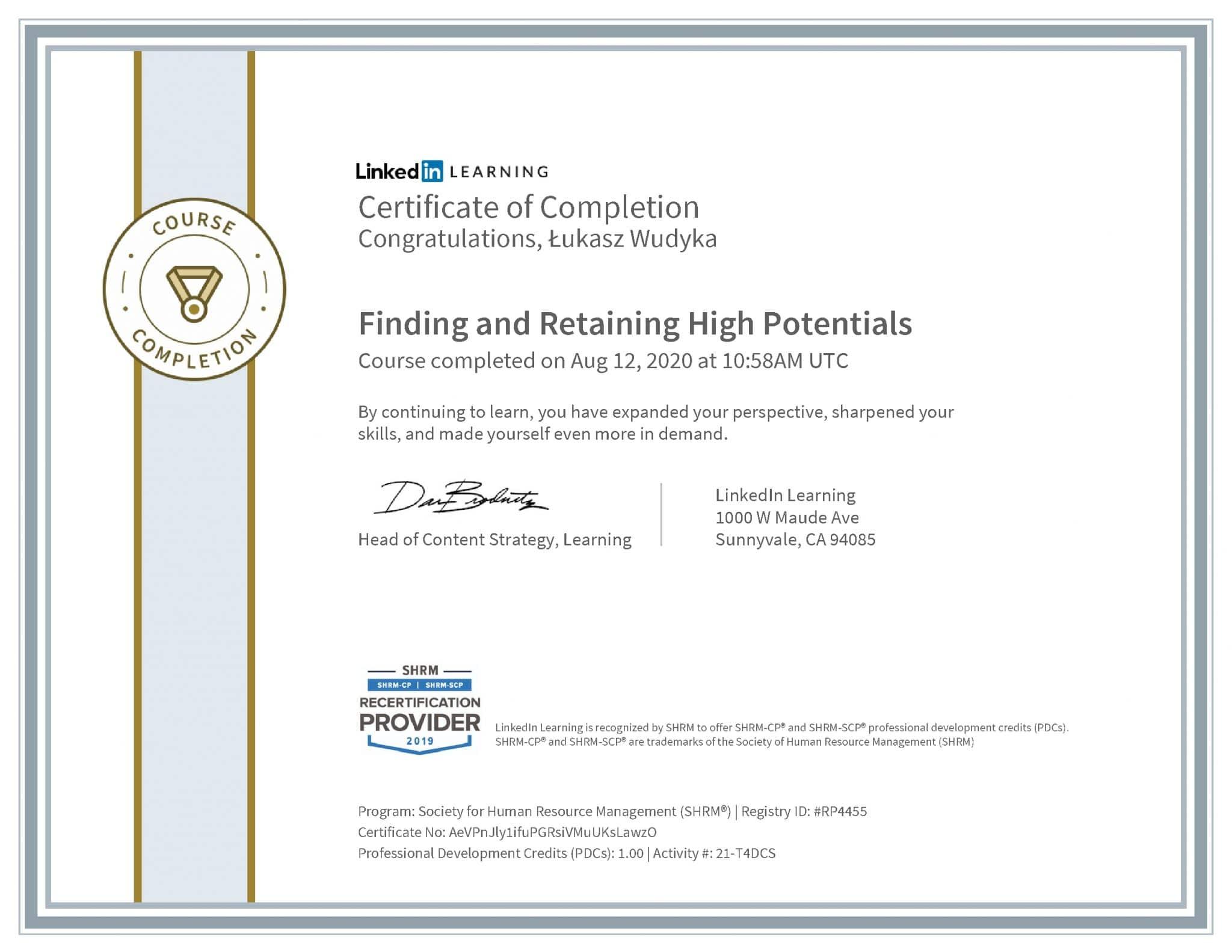 Łukasz Wudyka certyfikat LinkedIn Finding and Retaining High Potentials SHRM