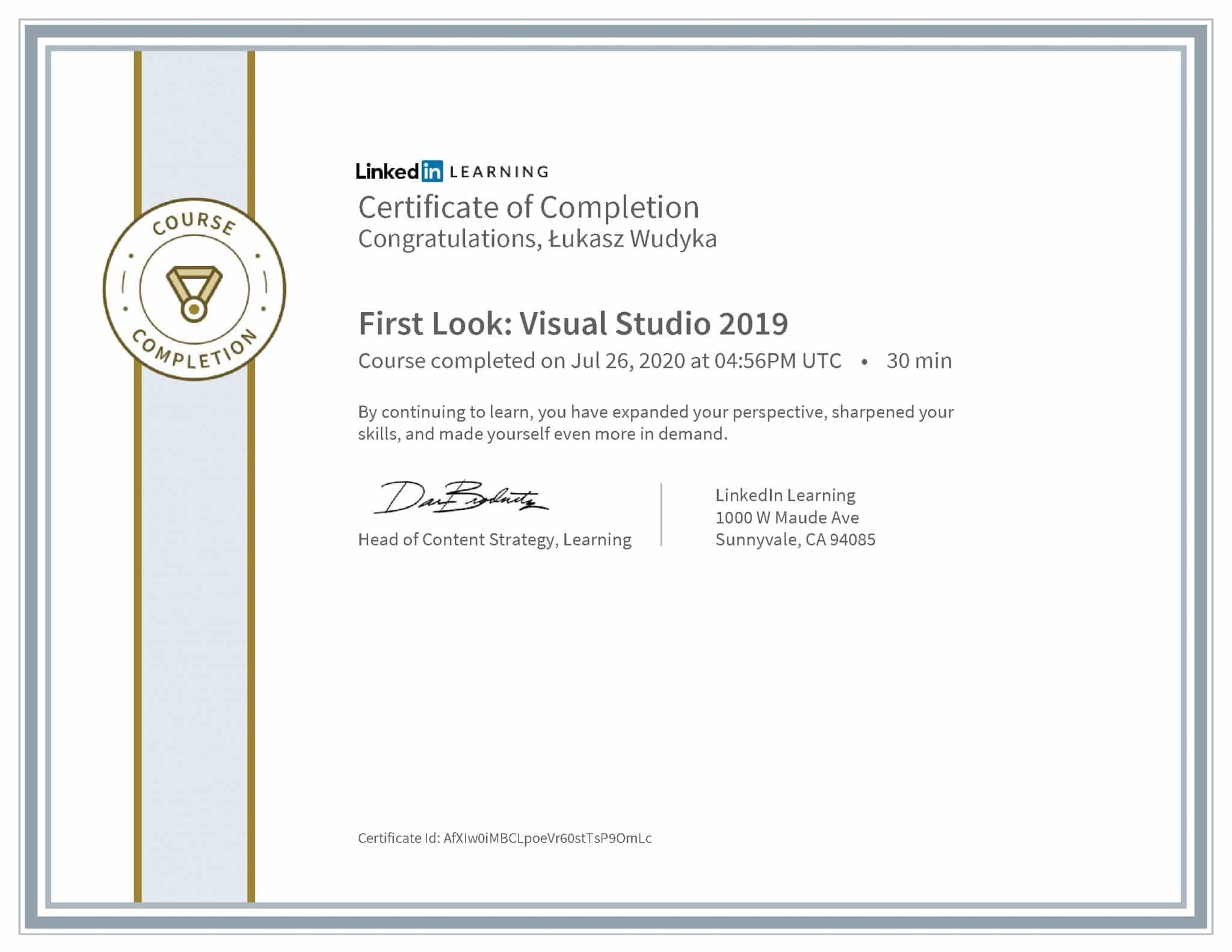 Łukasz Wudyka certyfikat LinkedIn First Look: Visual Studio 2019