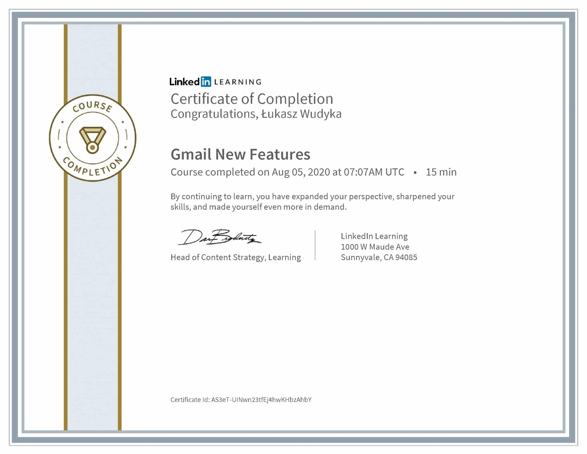 Łukasz Wudyka certyfikat LinkedIn Gmail New Features