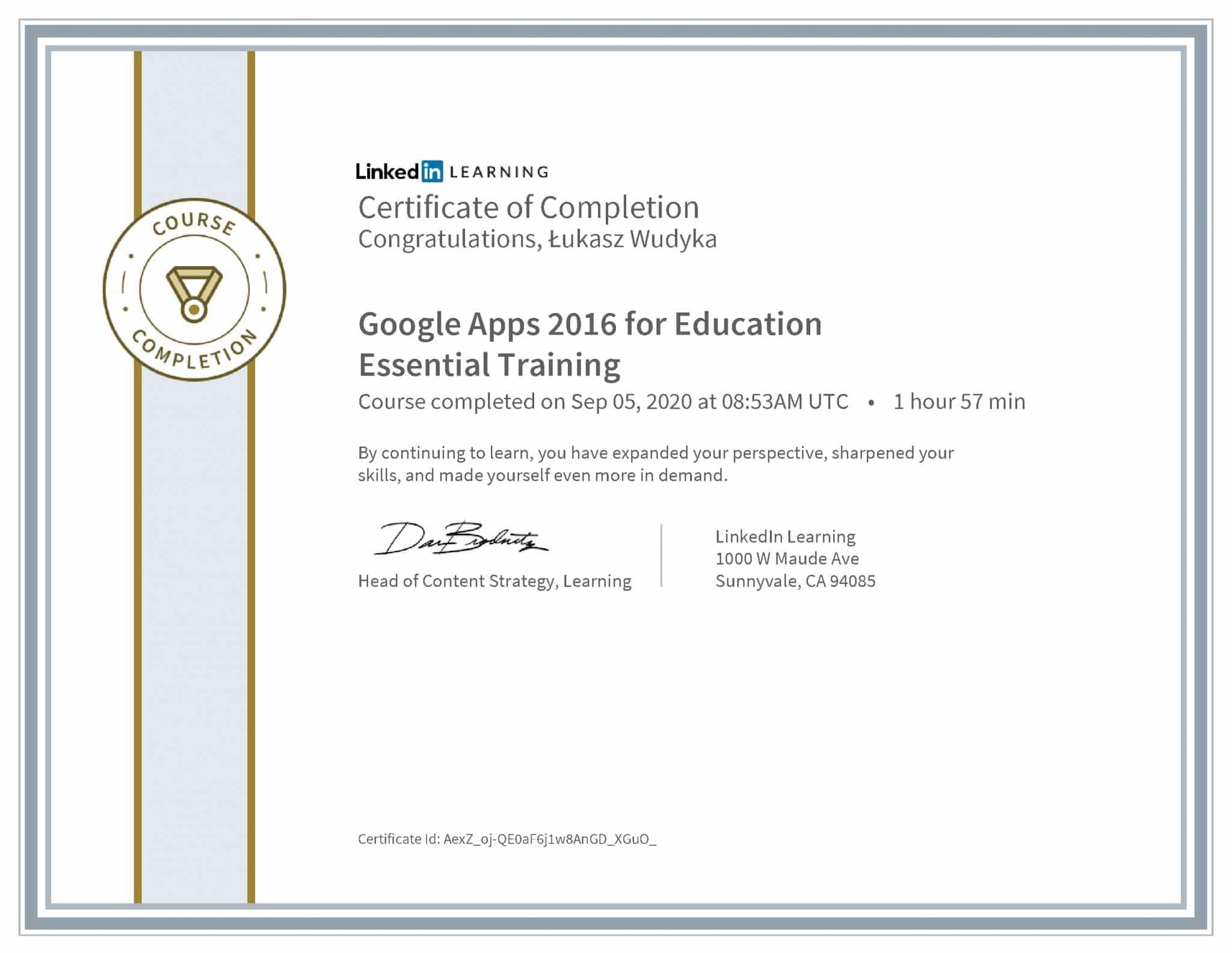 Łukasz Wudyka certyfikat LinkedIn Google Apps 2016 for Education Essential Training