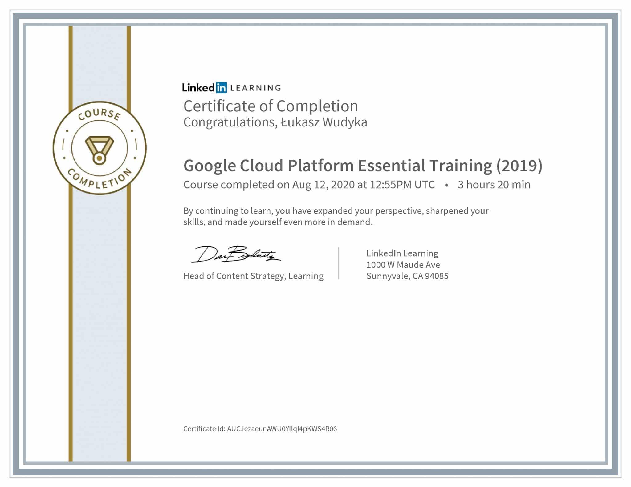 Łukasz Wudyka certyfikat LinkedIn Google Cloud Platform Essential Training (2019)