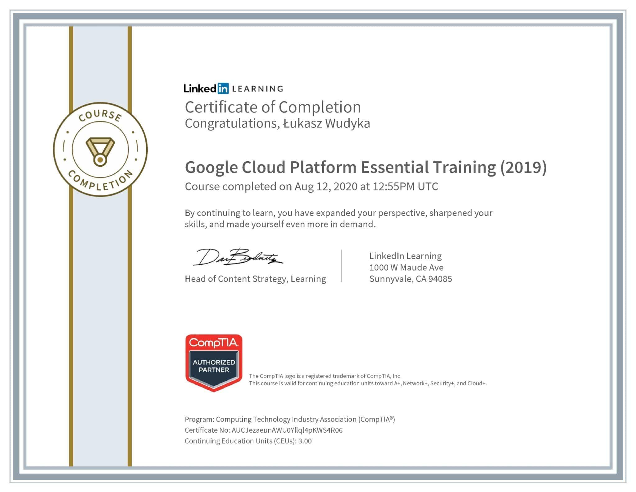 Łukasz Wudyka certyfikat LinkedIn Google Cloud Platform Essential Training (2019) CompTIA