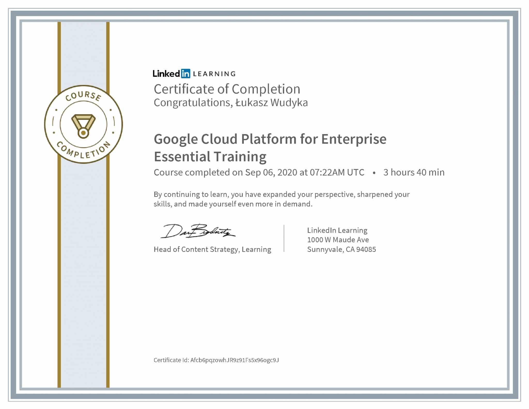 Łukasz Wudyka certyfikat LinkedIn Google Cloud Platform for Enterprise Essential Training