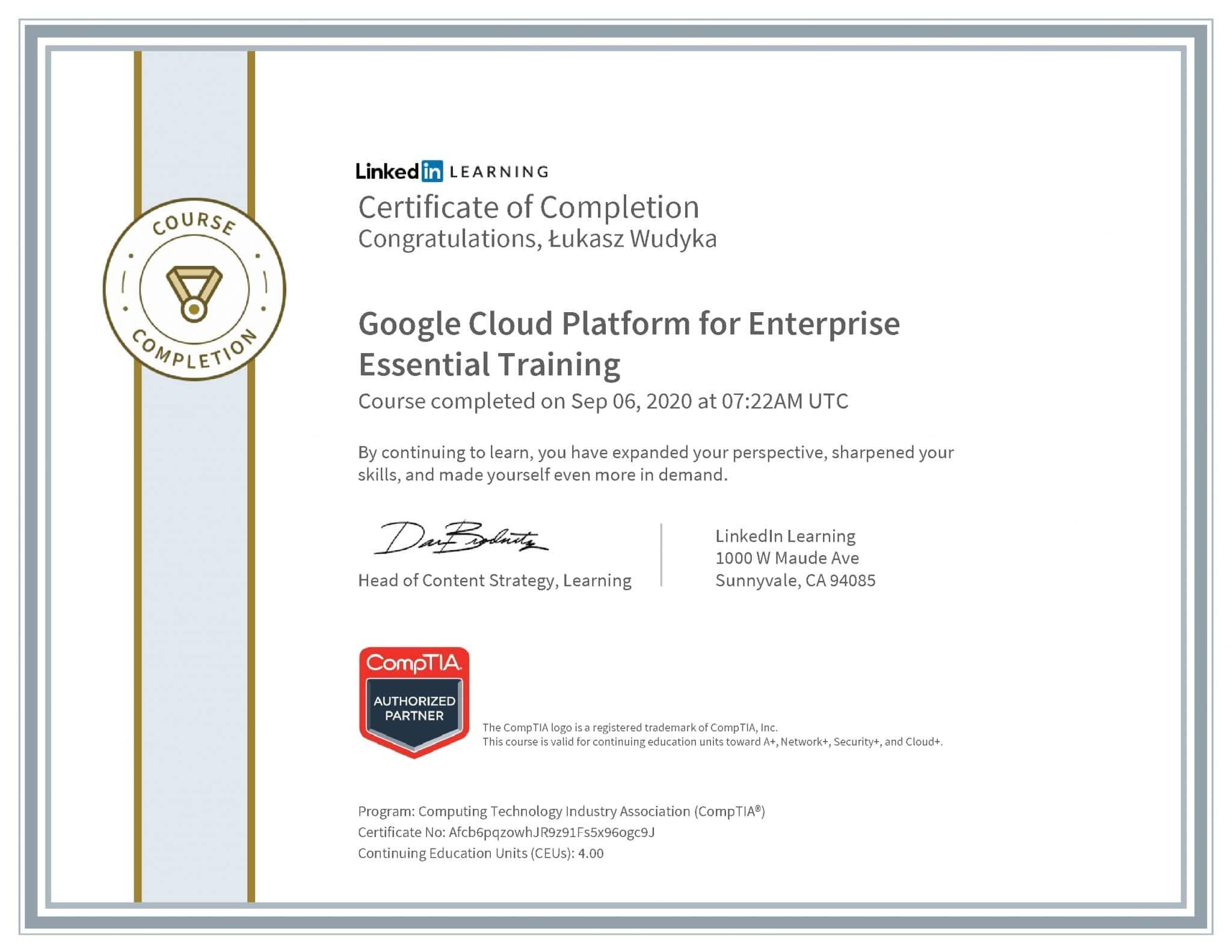 Łukasz Wudyka certyfikat LinkedIn Google Cloud Platform for Enterprise Essential Training CompTIA