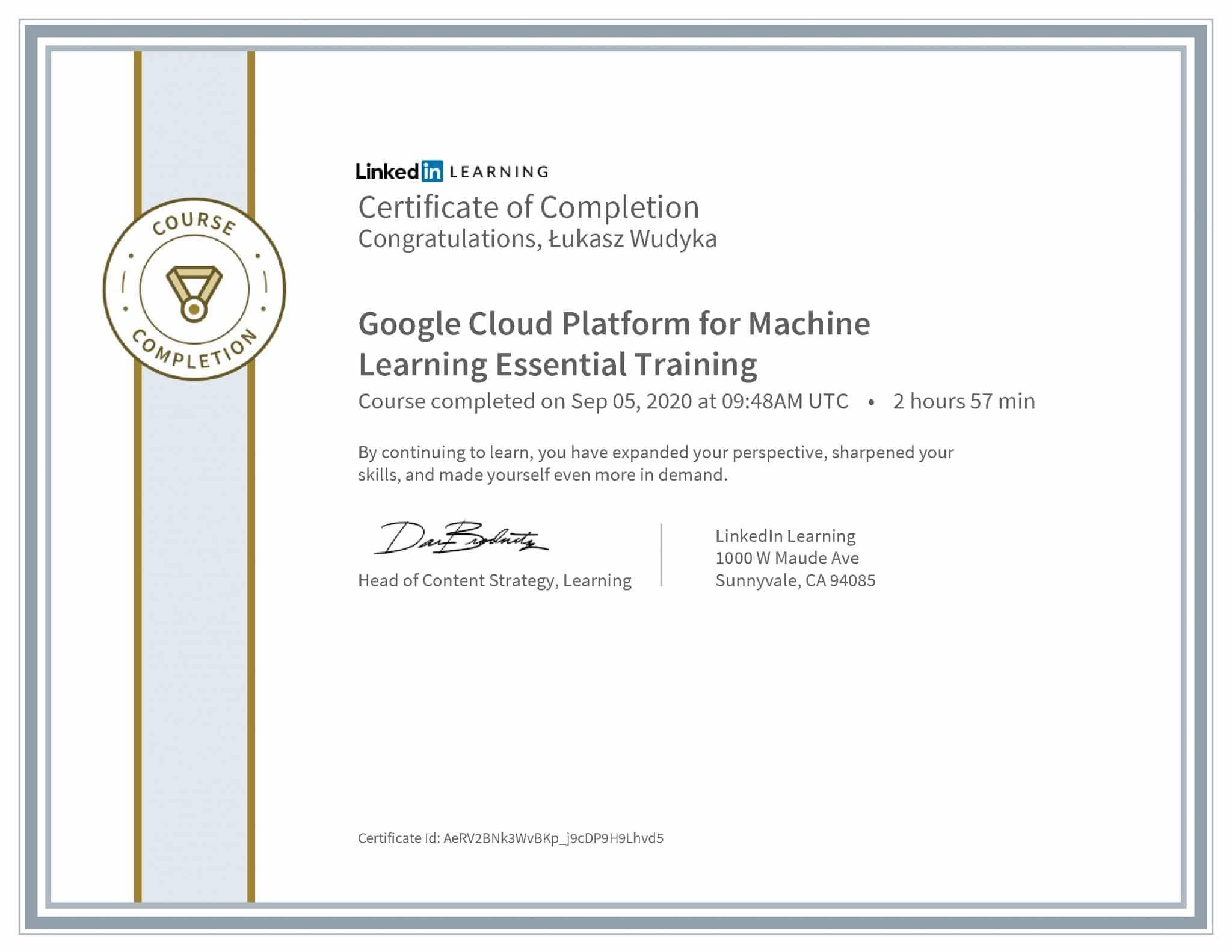 Łukasz Wudyka certyfikat LinkedIn Google Cloud Platform for Machine Learning Essential Training