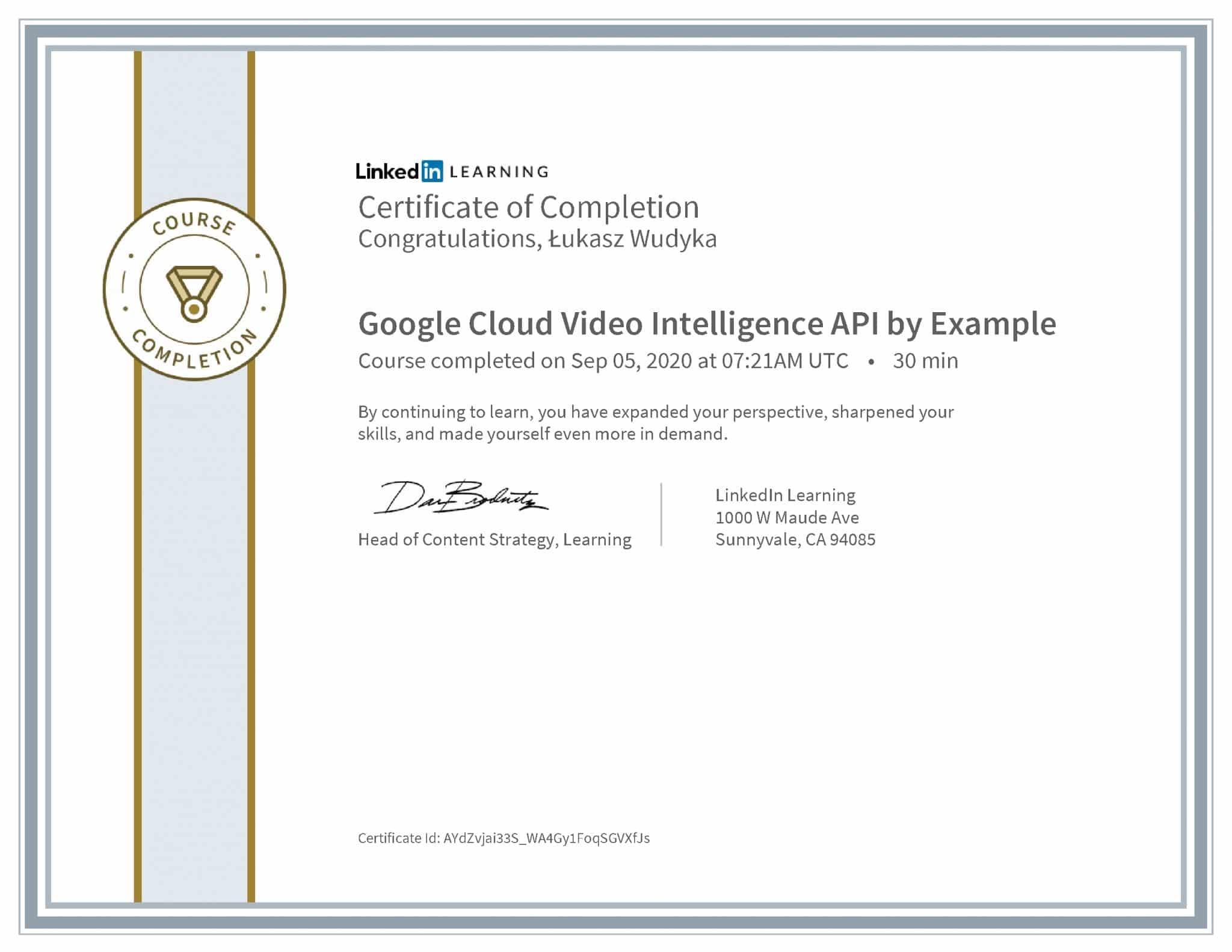 Łukasz Wudyka certyfikat LinkedIn Google Cloud Video Intelligence API by Example