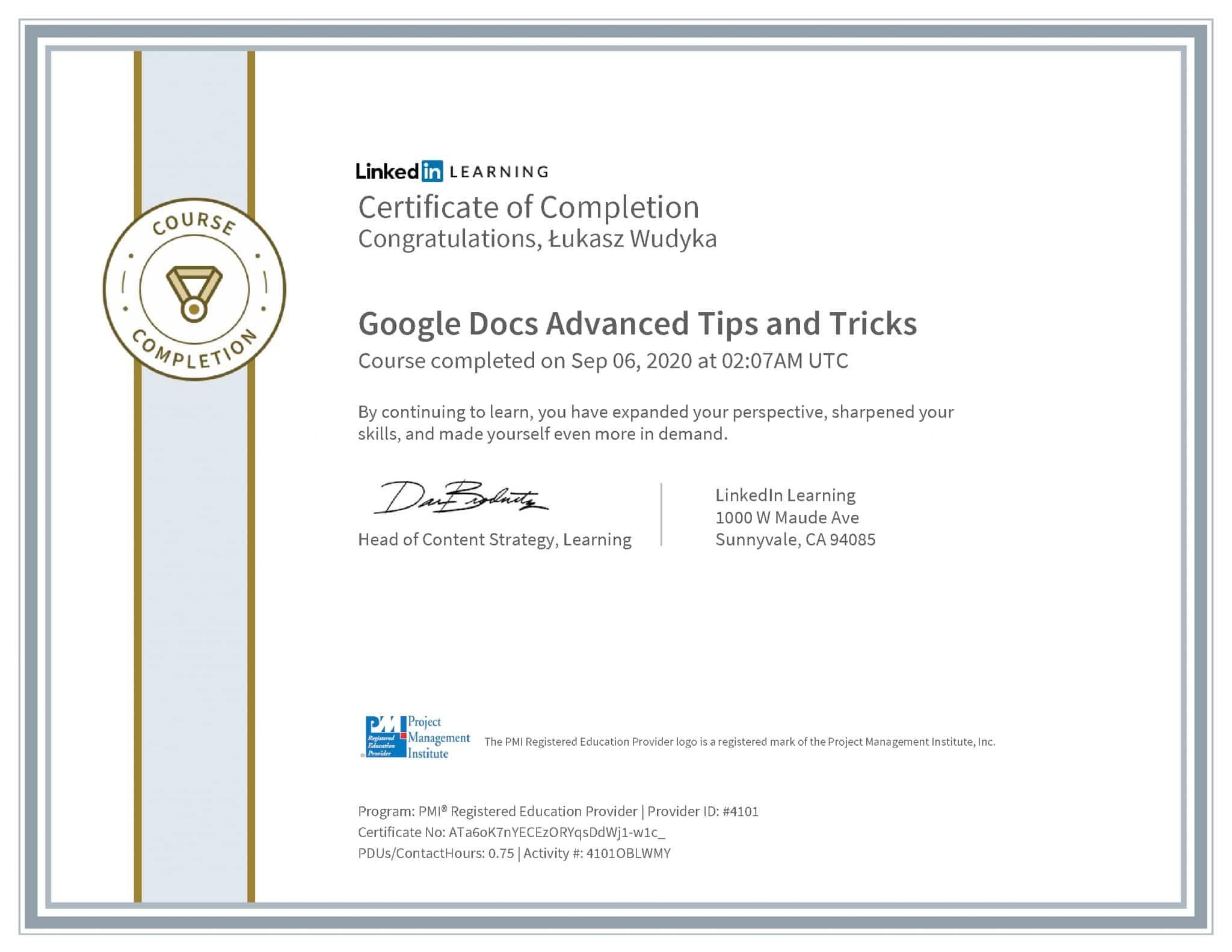 Łukasz Wudyka certyfikat LinkedIn Google Docs Advanced Tips and Tricks PMI