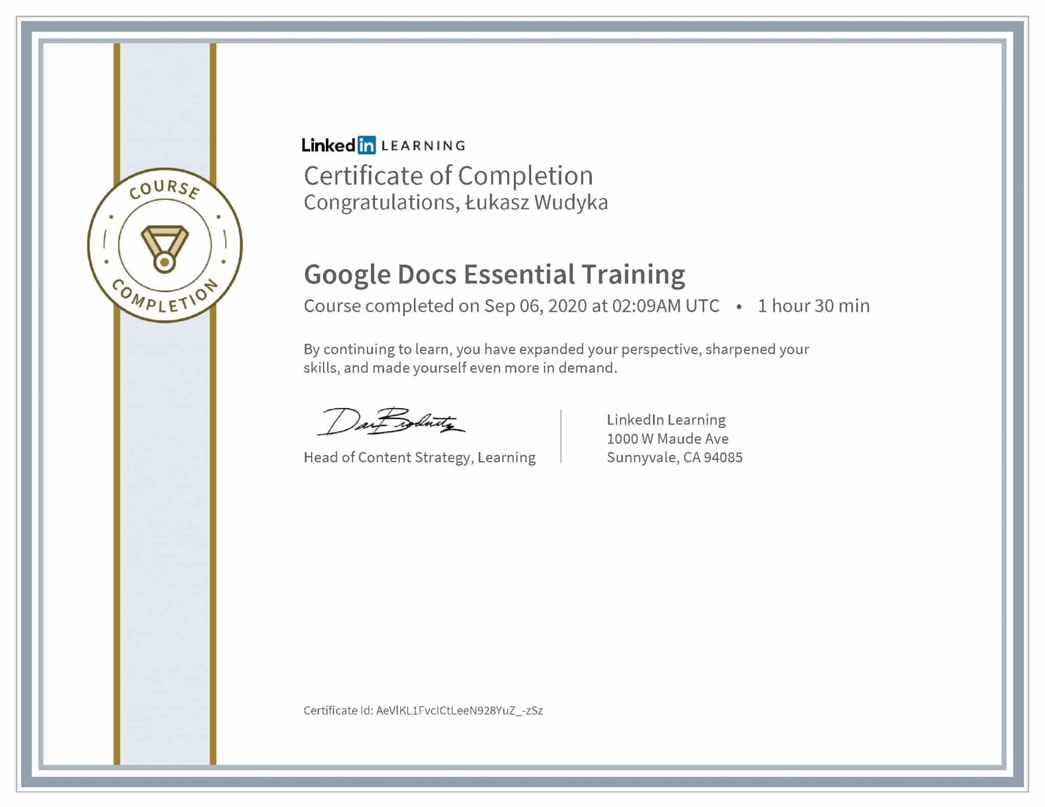 Łukasz Wudyka certyfikat LinkedIn Google Docs Essential Training