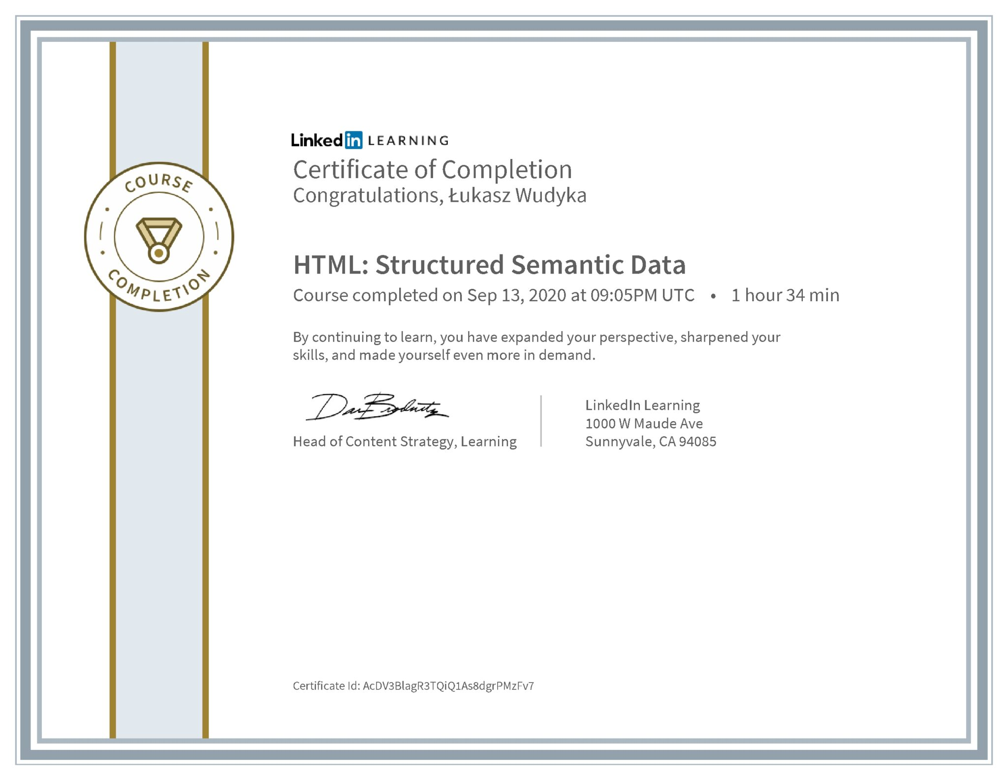 Łukasz Wudyka certyfikat LinkedIn HTML: Structured Semantic Data
