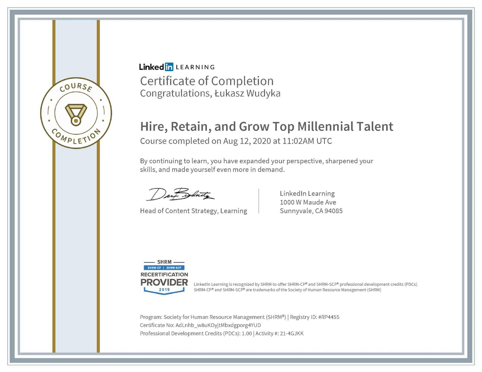 Łukasz Wudyka certyfikat LinkedIn Hire, Retain, and Grow Top Millennial Talent SHRM
