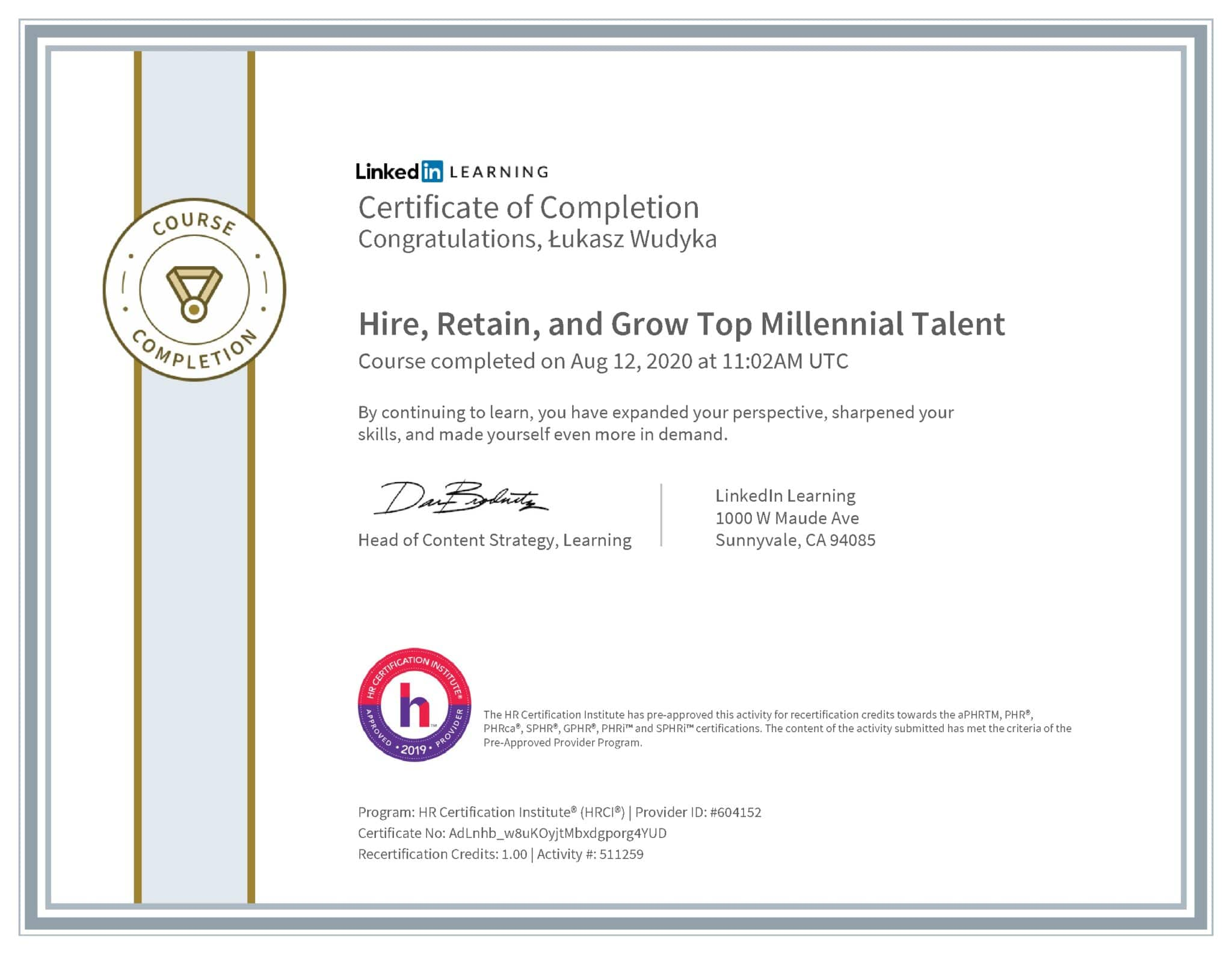 Łukasz Wudyka certyfikat LinkedIn Hire, Retain, and Grow Top Millennial Talent HRCI