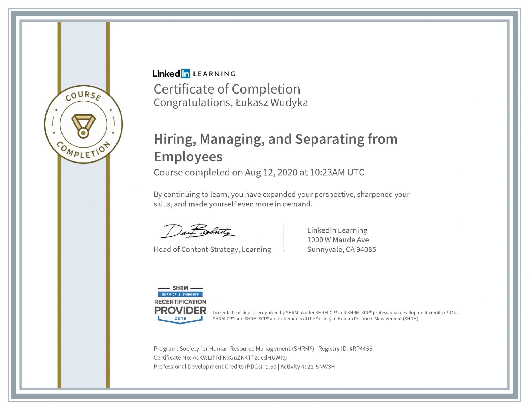 Łukasz Wudyka certyfikat LinkedIn Hiring, Managing, and Separating from Employees SHRM