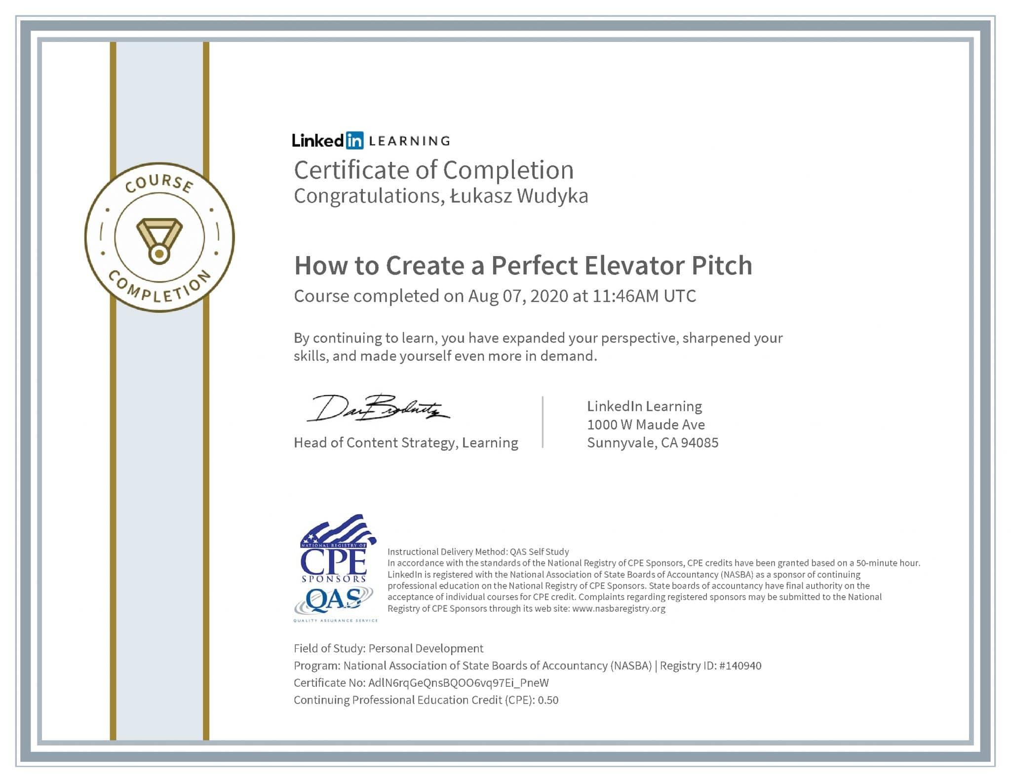 Łukasz Wudyka certyfikat LinkedIn How to Create a Perfect Elevator Pitch NASBA
