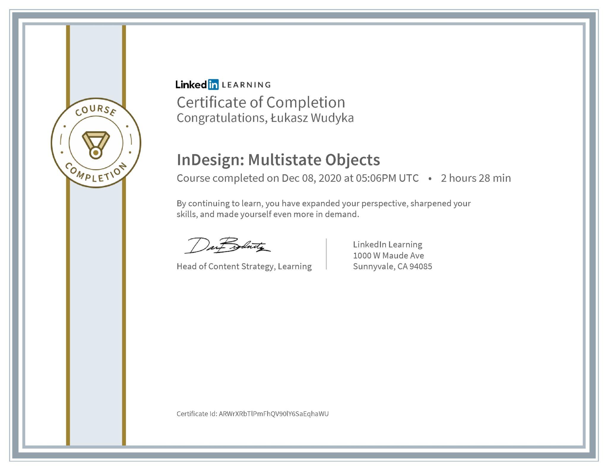 Łukasz Wudyka certyfikat LinkedIn InDesign: Multistate Objects