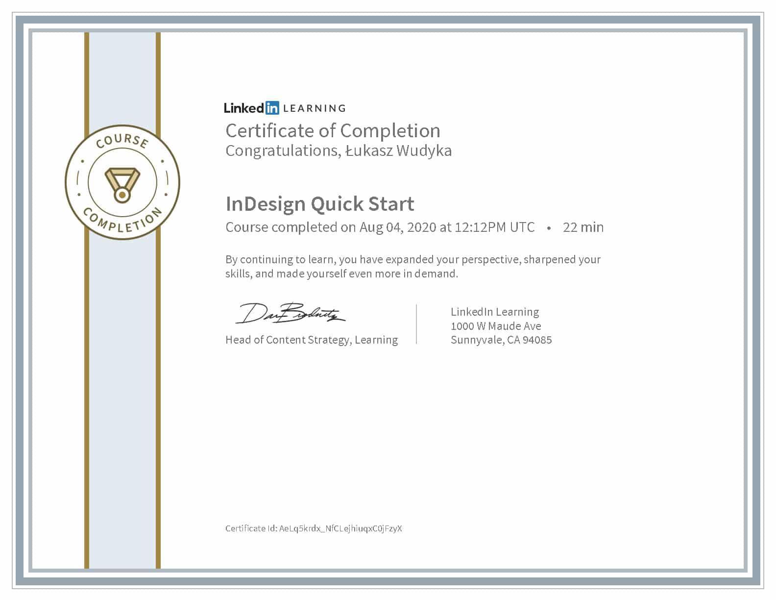 Łukasz Wudyka certyfikat LinkedIn InDesign Quick Start