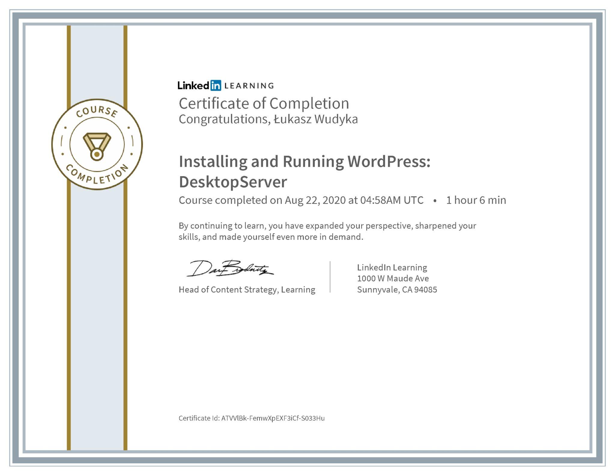 Łukasz Wudyka certyfikat LinkedIn Installing and Running WordPress: DesktopServer