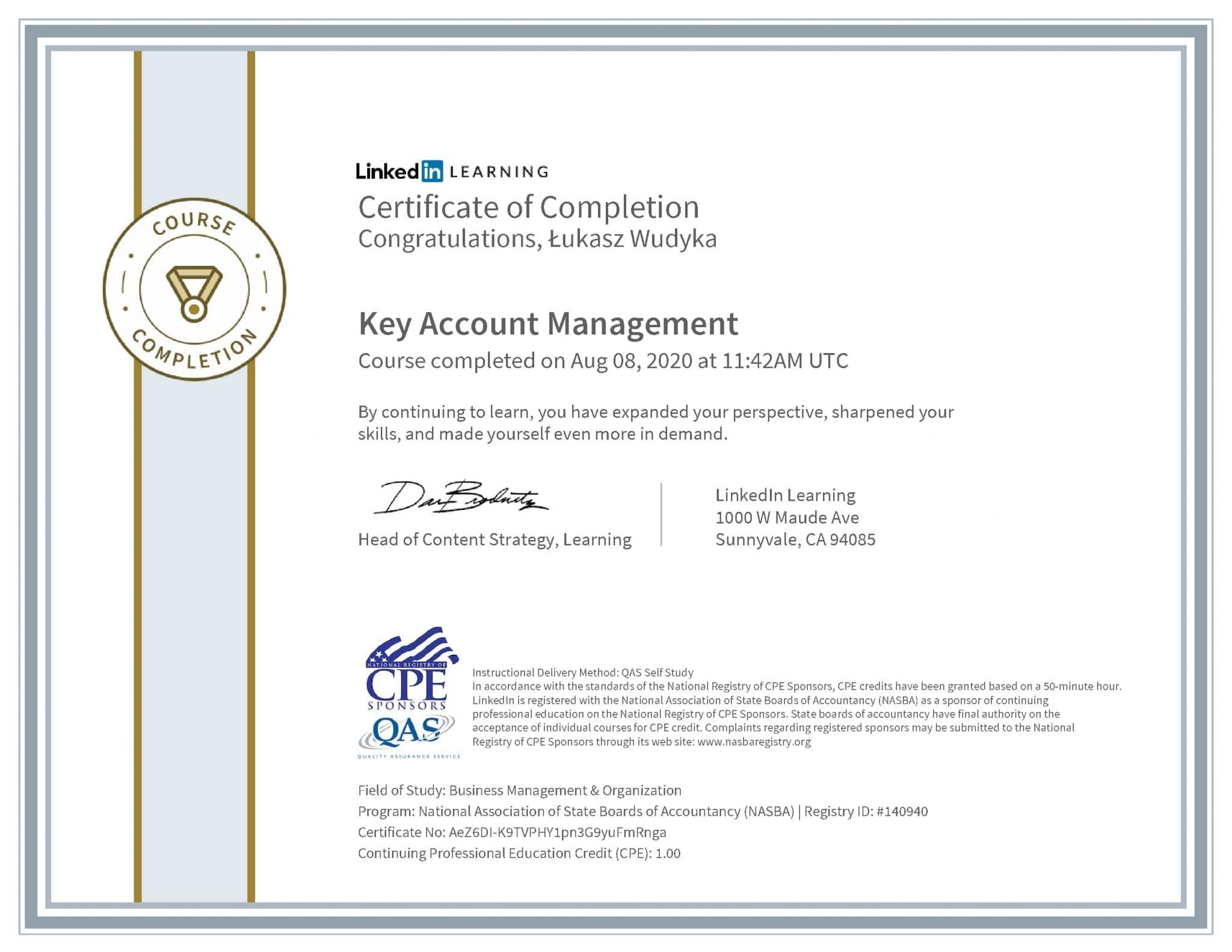 Łukasz Wudyka certyfikat LinkedIn Key Account Management NASBA