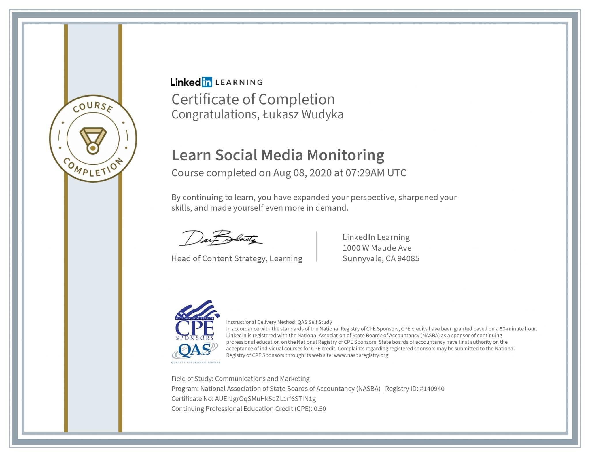 Łukasz Wudyka certyfikat LinkedIn Learn Social Media Monitoring NASBA