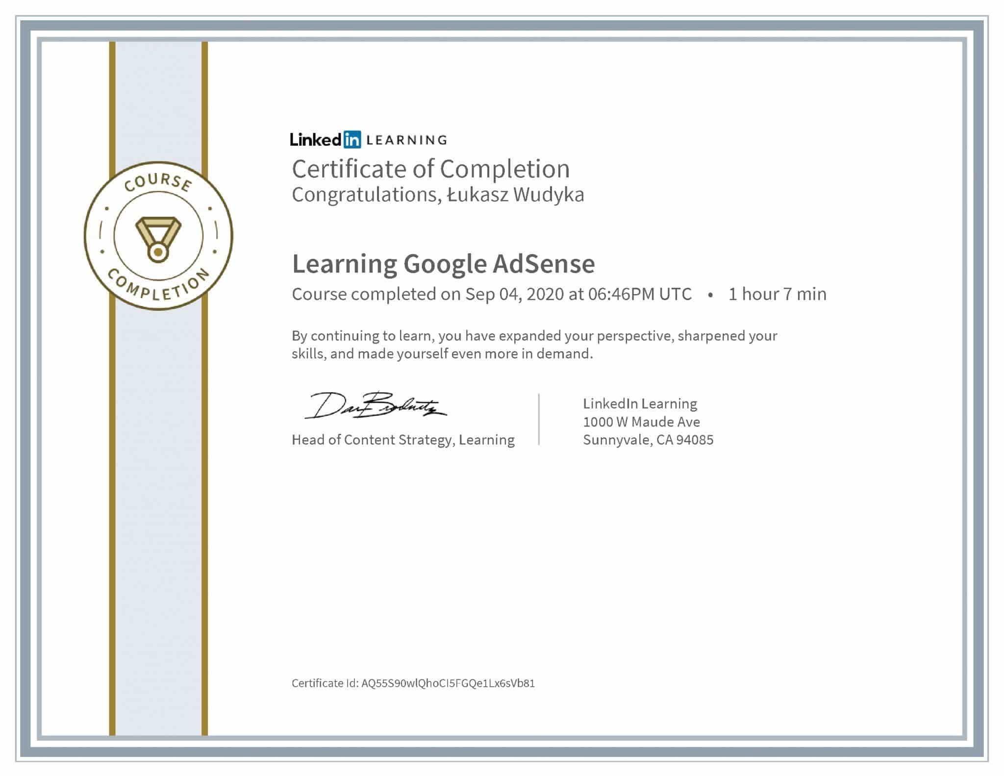 Łukasz Wudyka certyfikat LinkedIn Learning Google AdSense