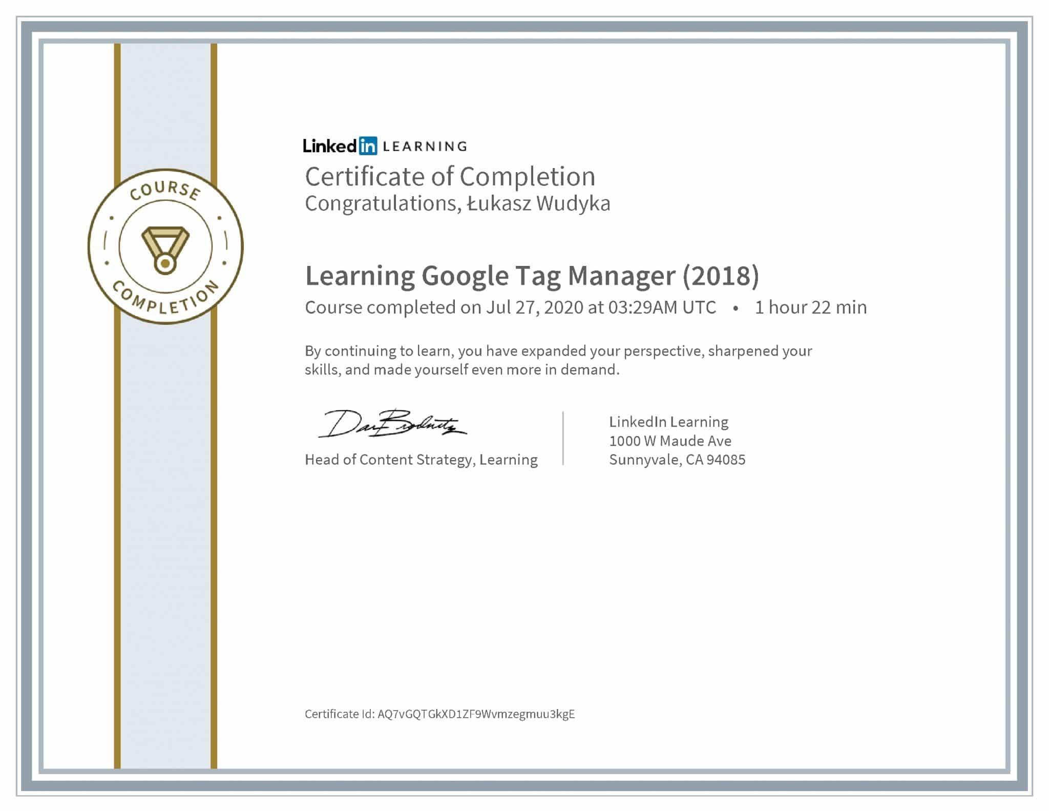 Łukasz Wudyka certyfikat LinkedIn Learning Google Tag Manager (2018)