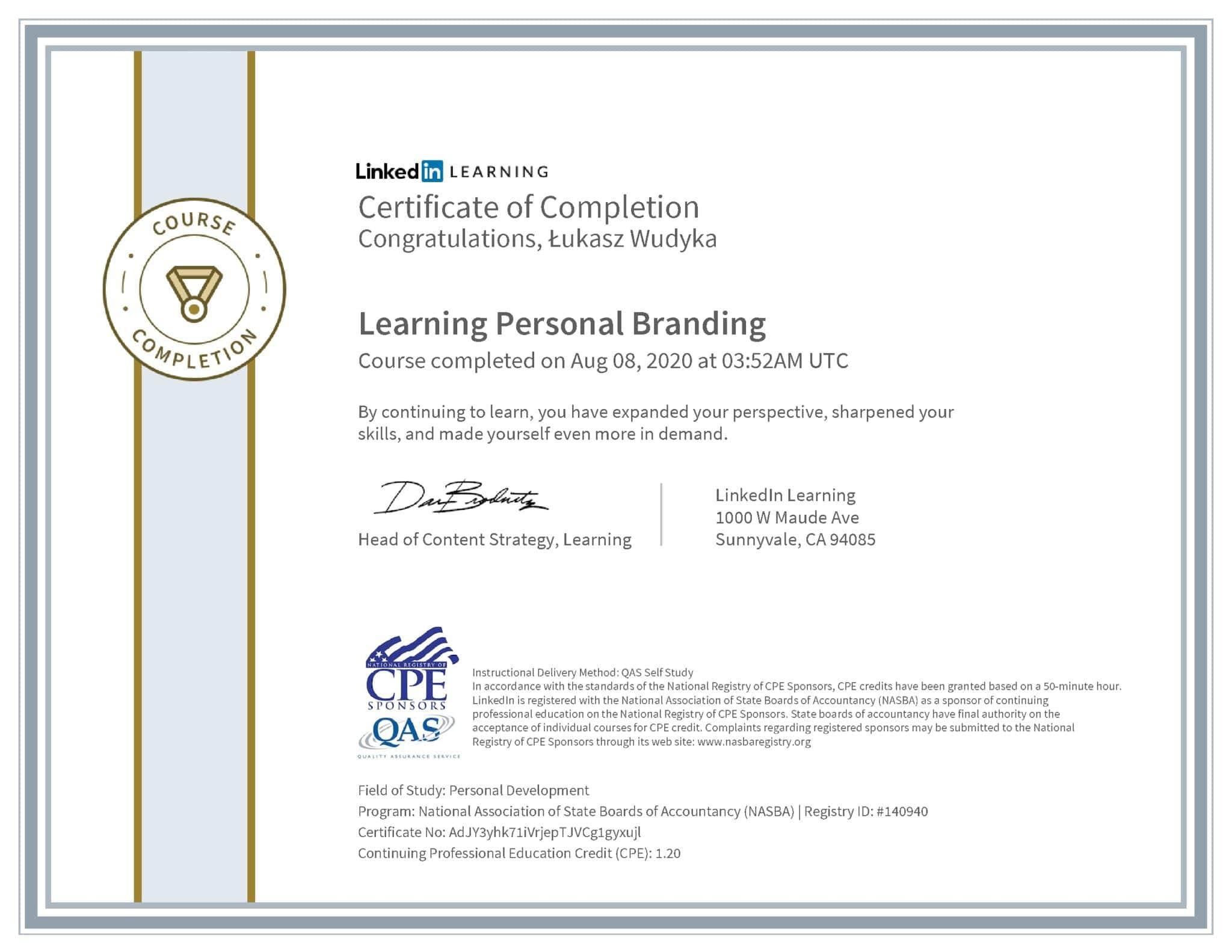 Łukasz Wudyka certyfikat LinkedIn Learning Personal Branding NASBA