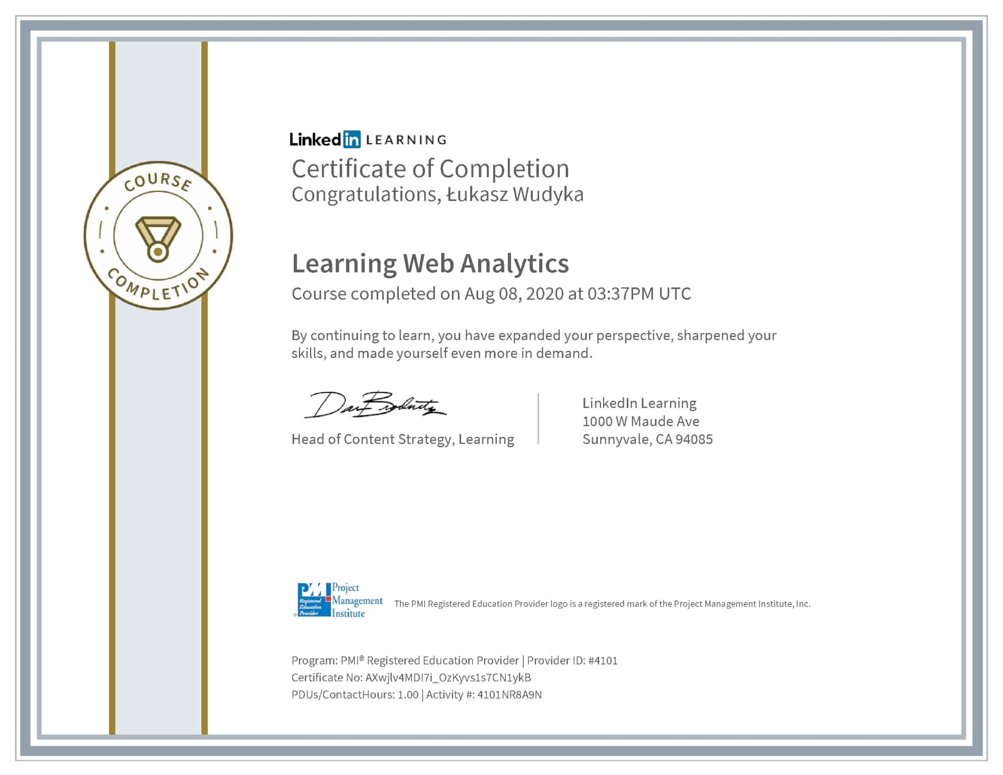 Łukasz Wudyka certyfikat LinkedIn Learning Web Analytics PMI