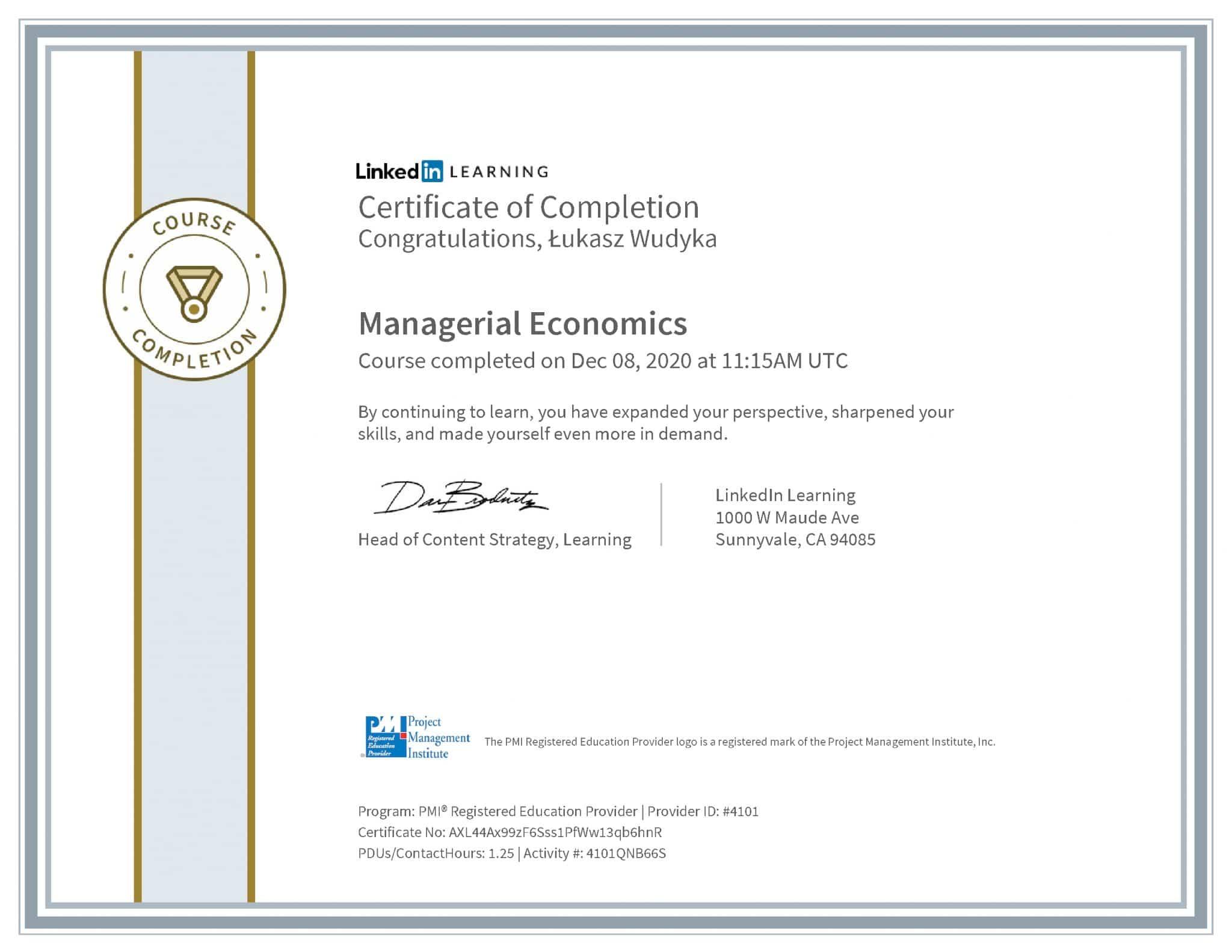 Łukasz Wudyka certyfikat LinkedIn Managerial Economics PMI