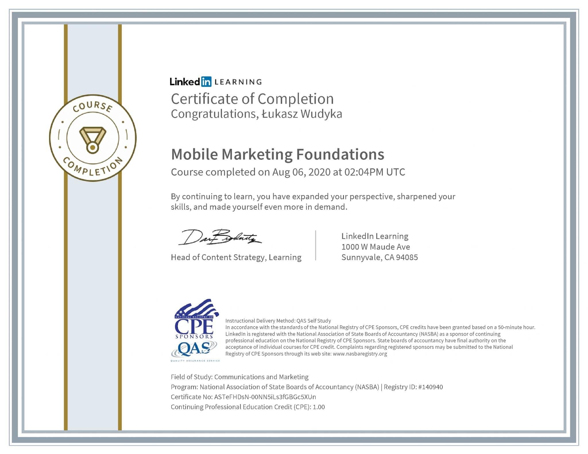 Łukasz Wudyka certyfikat LinkedIn Mobile Marketing Foundations NASBA