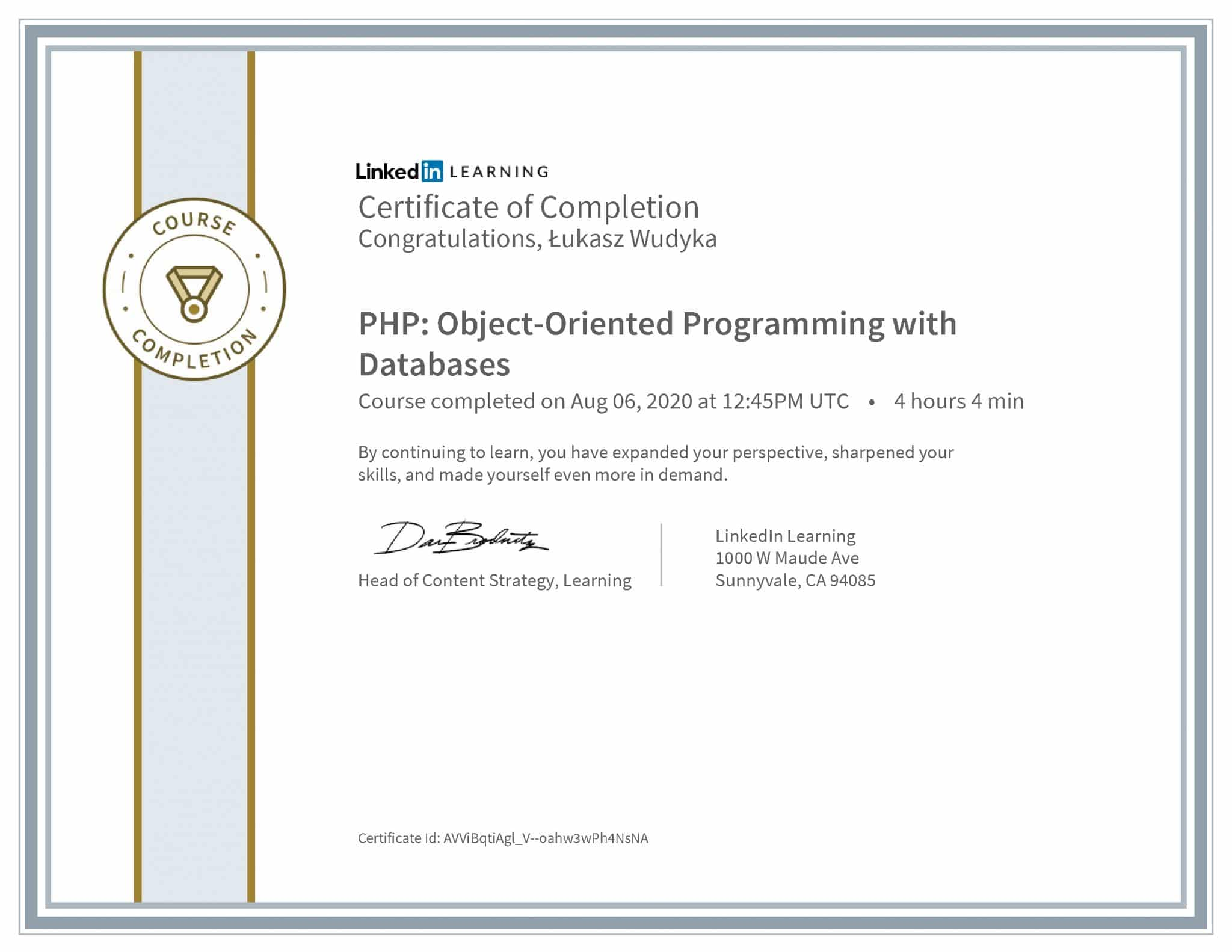 Łukasz Wudyka certyfikat LinkedIn PHP: Object-Oriented Programming with Databases