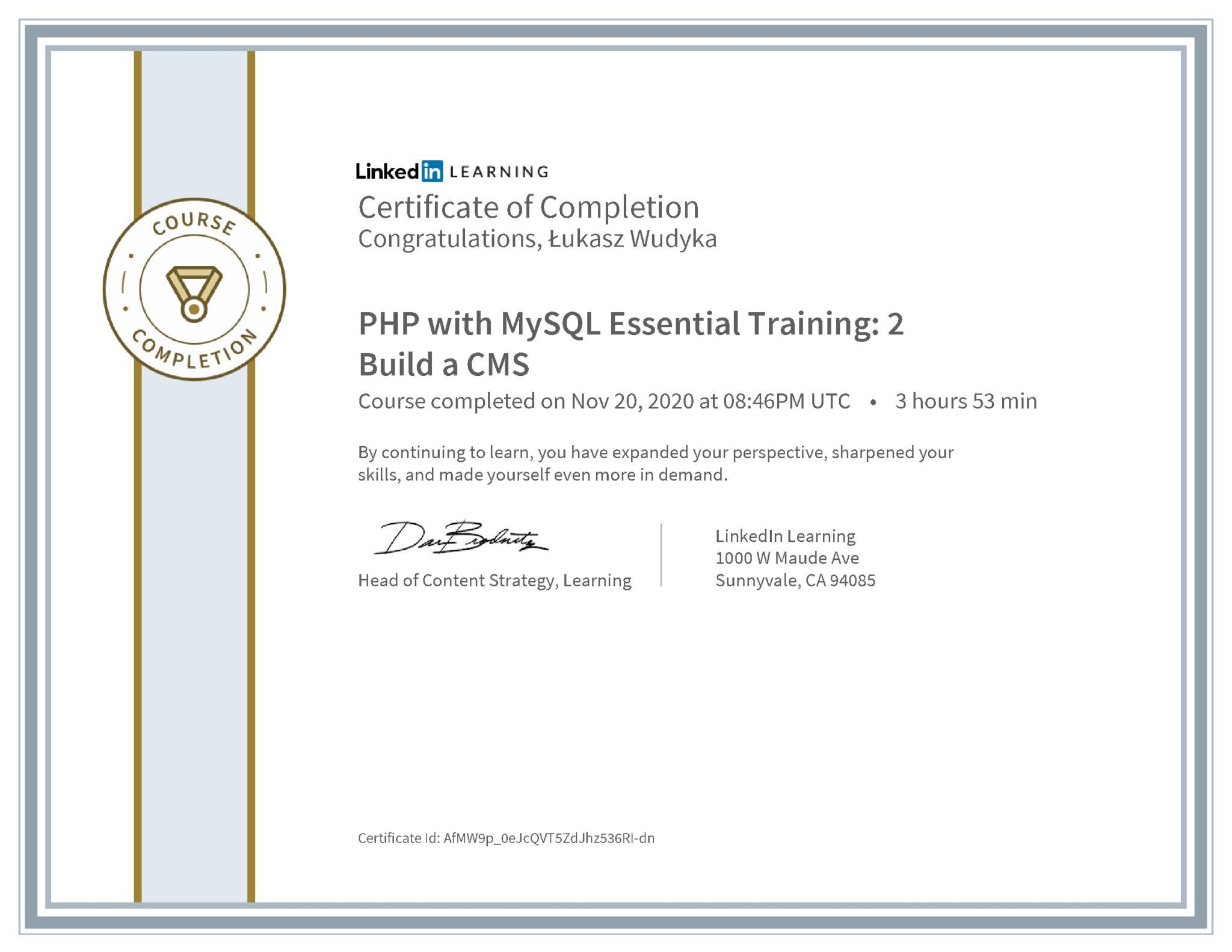 Łukasz Wudyka certyfikat LinkedIn PHP with MySQL Essential Training: 2 Build a CMS
